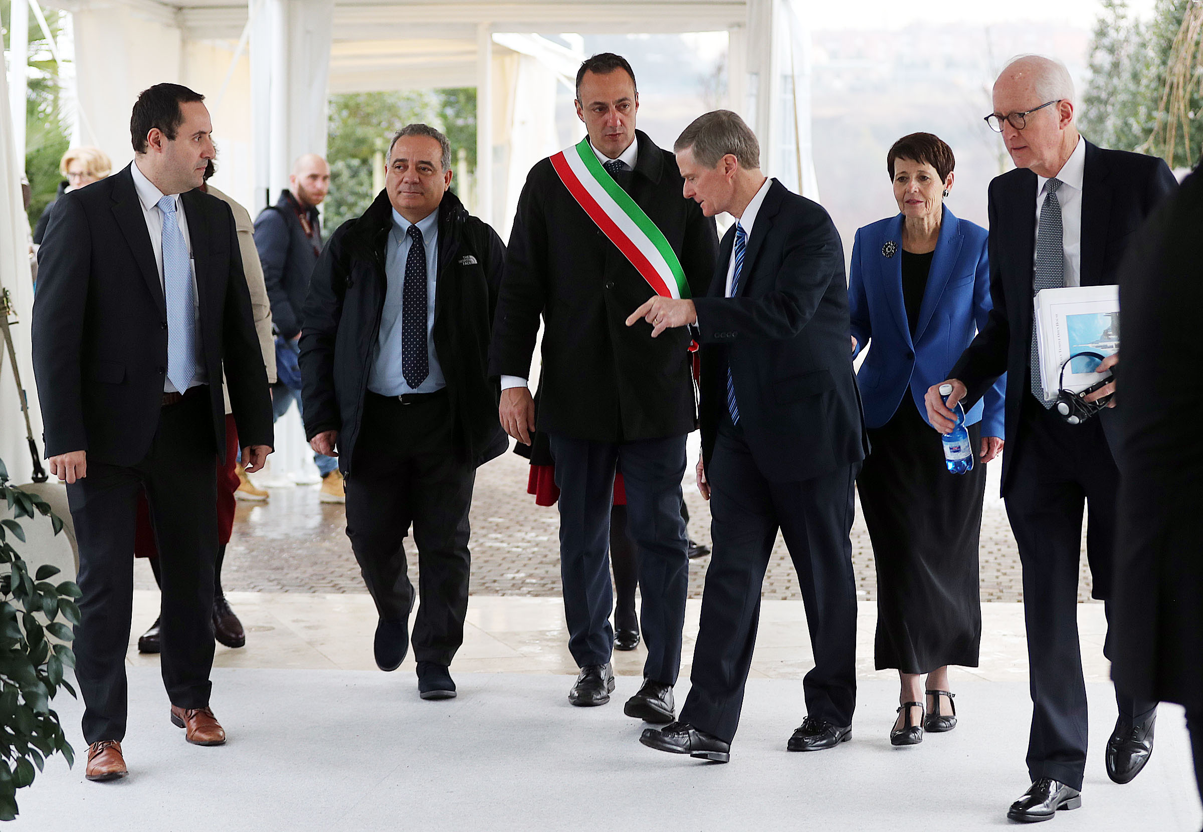 Elder David A. Bednar of the Quorum of the Twelve Apostles of The Church of Jesus Christ of Latter-day Saints leads a tour during the Rome Italy Temple open house on Monday, Jan. 14, 2019. Third from left is President President Marcello De Vito, president of the Rome City Council. Second from left is President Giovanni Caudo, president of the Third Municipality of Rome.