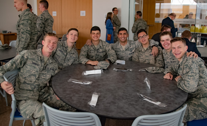 A group of LDS Cadets pose together before the question and answer session with Brother and Sister Callister.