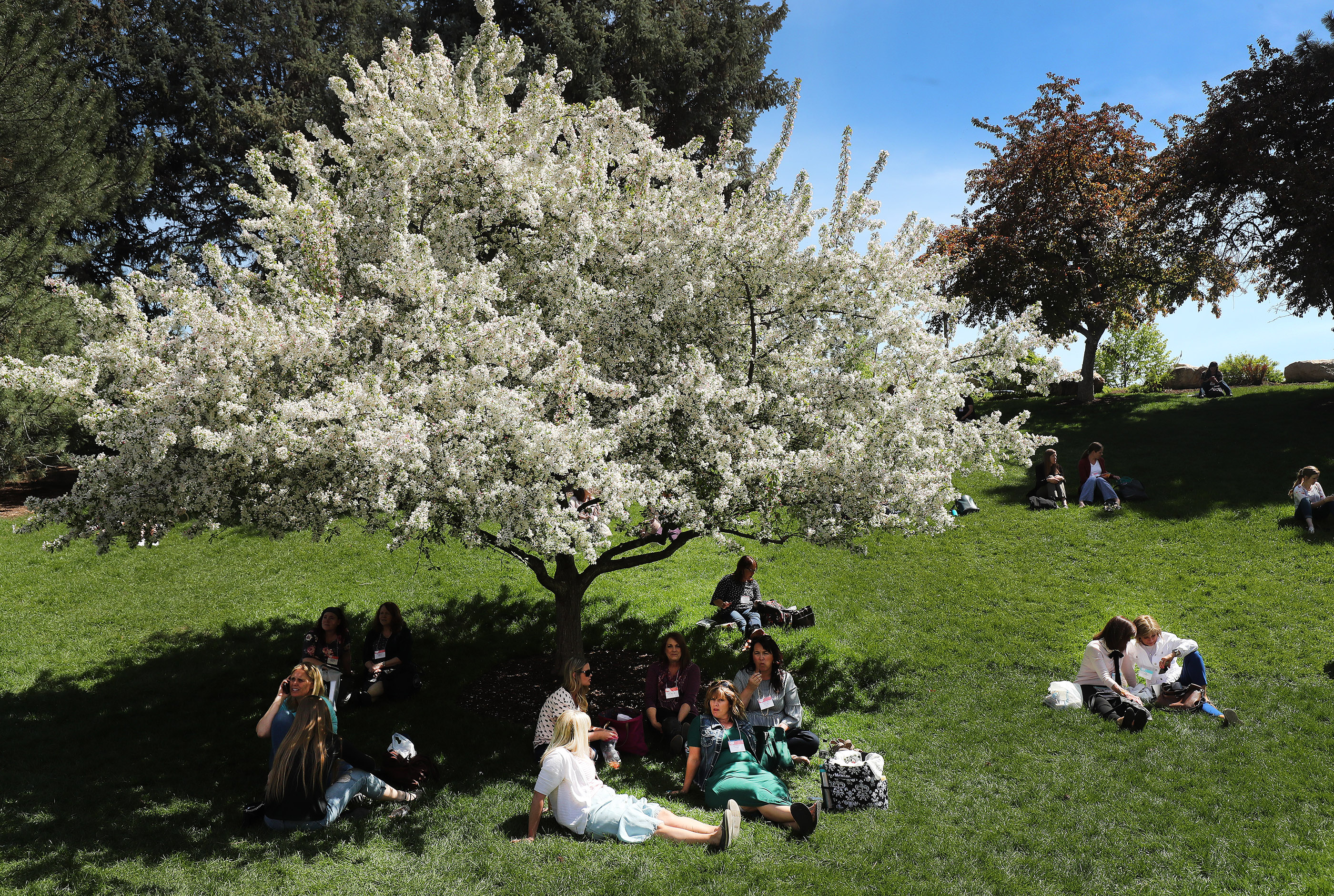 Attendees enjoy the sunshine during BYU Women's Conference in Provo on Friday, May 3, 2019.