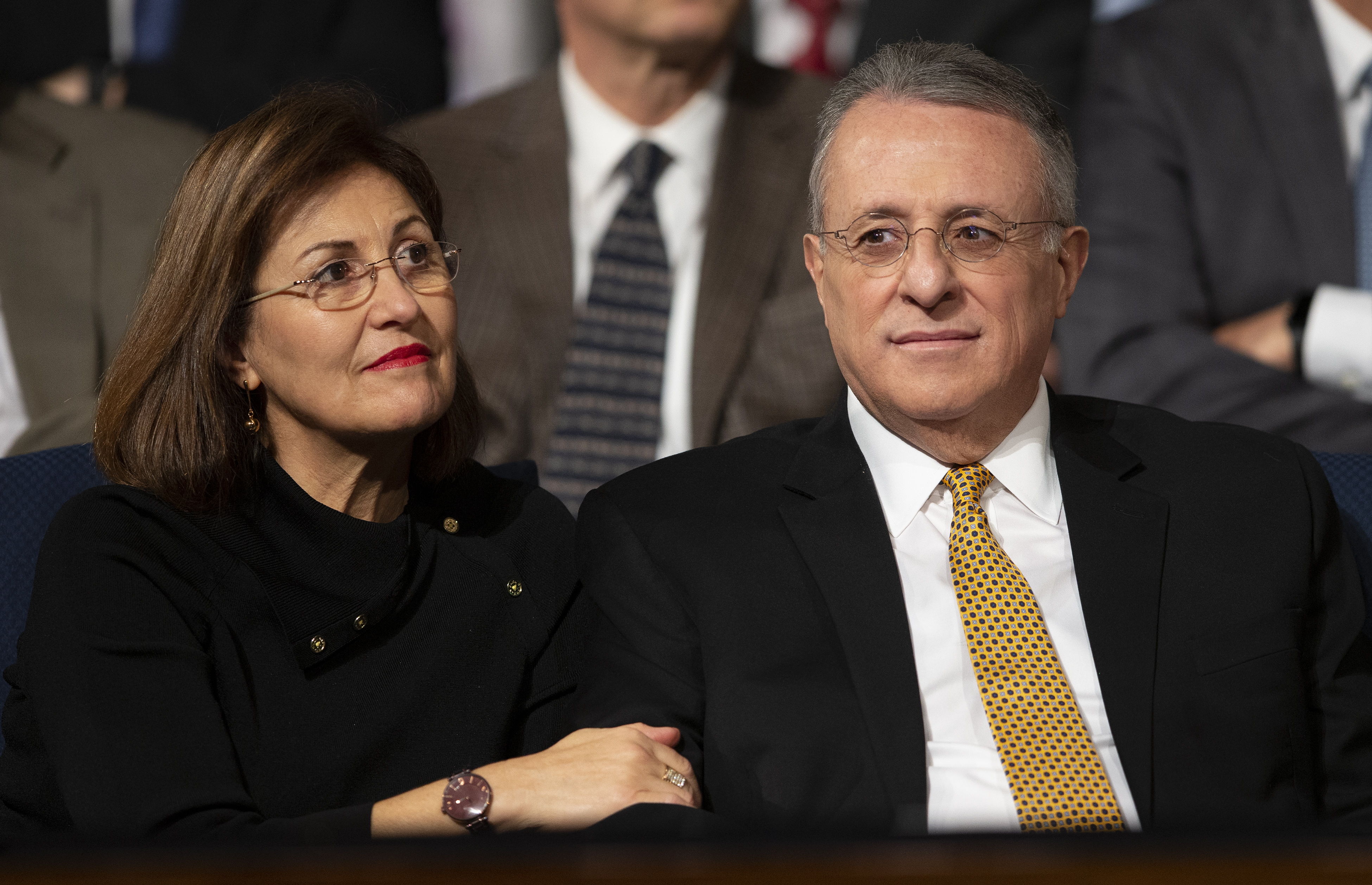 Elder Ulisses Soares of the Quorum of the Twelve Apostles of The Church of Jesus Christ of Latter-day Saints and his wife Sister Rosana Soares take their seats prior to his speaking at a devotional at BYU in Provo on Tuesday, Feb. 5, 2019.