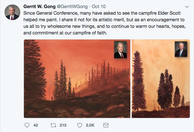 Screen shot of Elder Gerrit W. Gong's Twitter post from Oct. 10.
