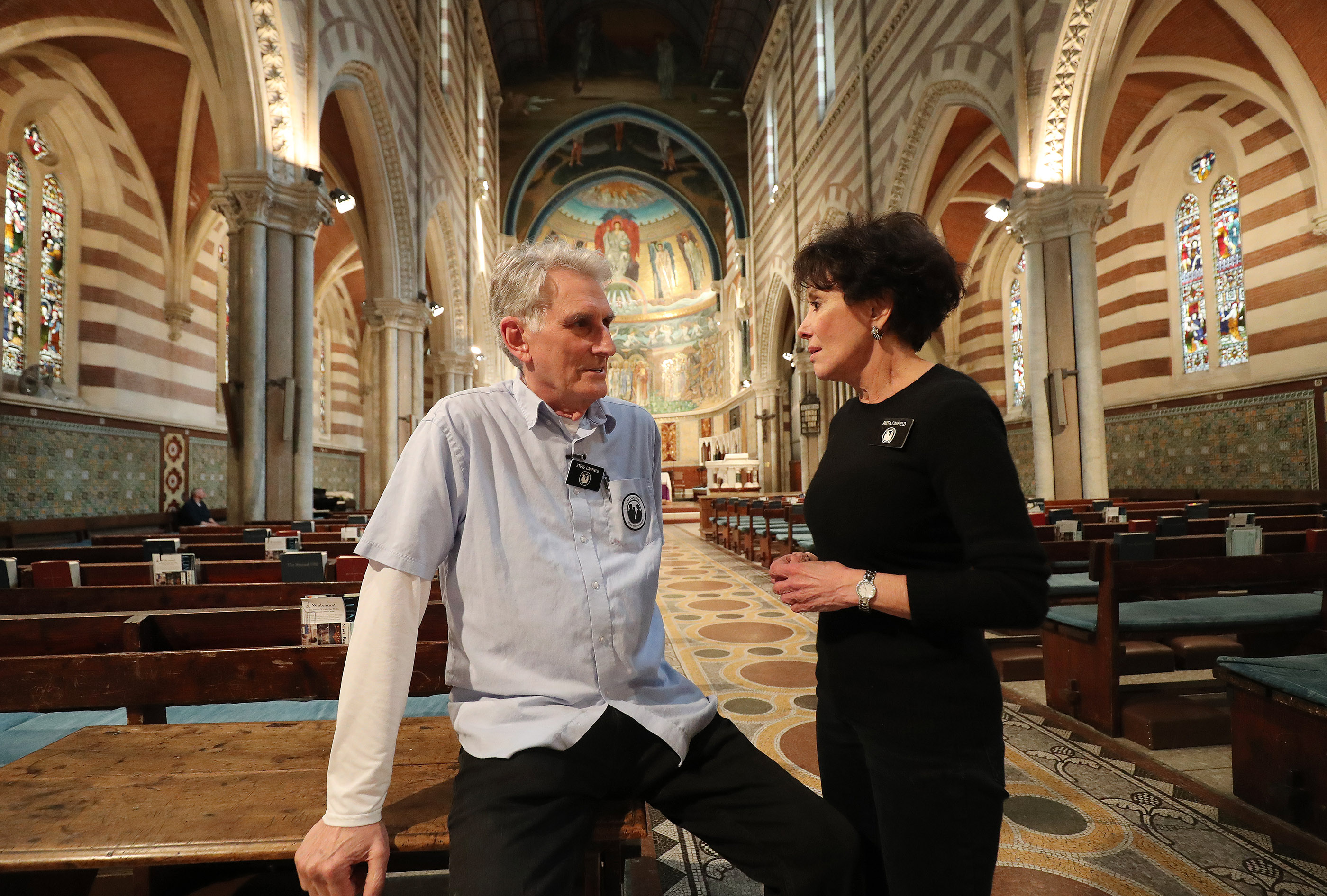 Latter-day Saint Charities missionaries Steve and Anita Canfield talk at St. Paul's Within the Walls Episcopal Church in Rome, Italy on Thursday, March 7, 2019. TThe Church of Jesus Christ of Latter-day Saints partners with the Catholic church to help refugees.