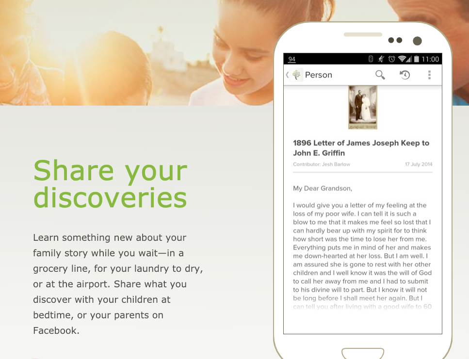 One feature on the FamilySearch Tree mobile app allows users to share discoveries.