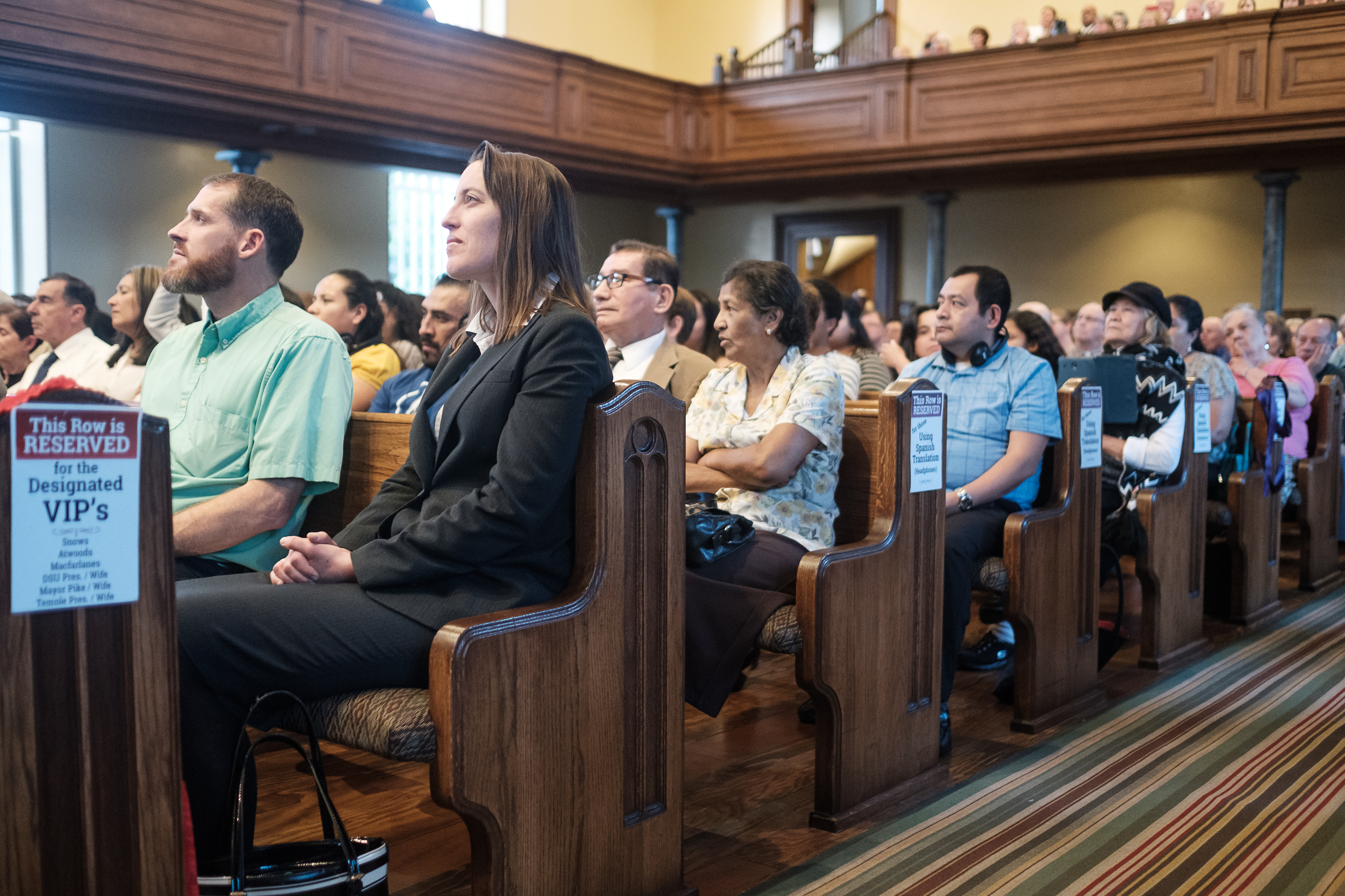 Attendees listen during the Historic Interfaith Tribute at the St. George Tabernacle in St. George, Utah on Thursday, May 2, 2019.