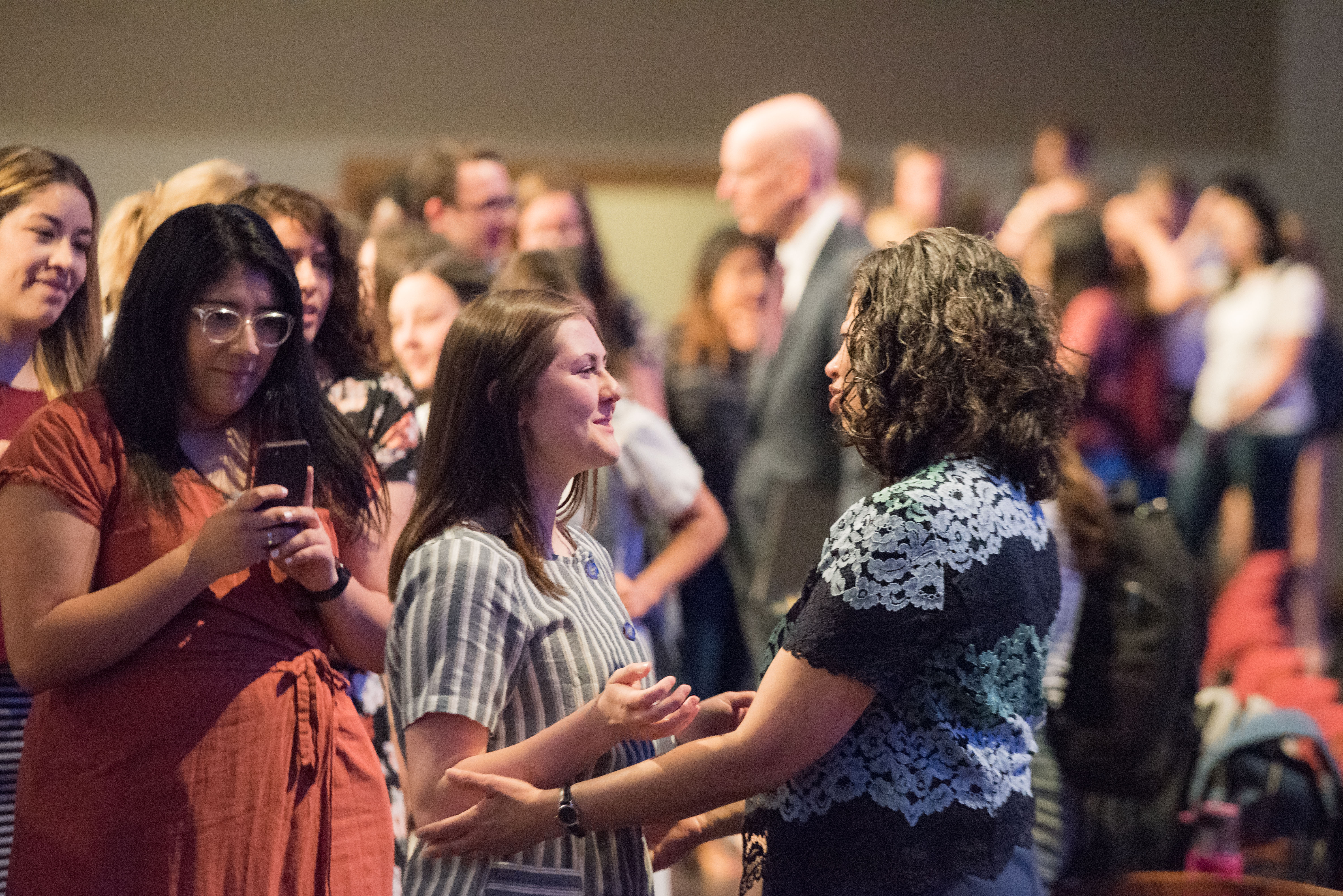 Sister Reyna I. Aburto, second counselor in the Relief Society general presidency, meets with BYU-Idaho students following a devotional held on June 4, 2019.