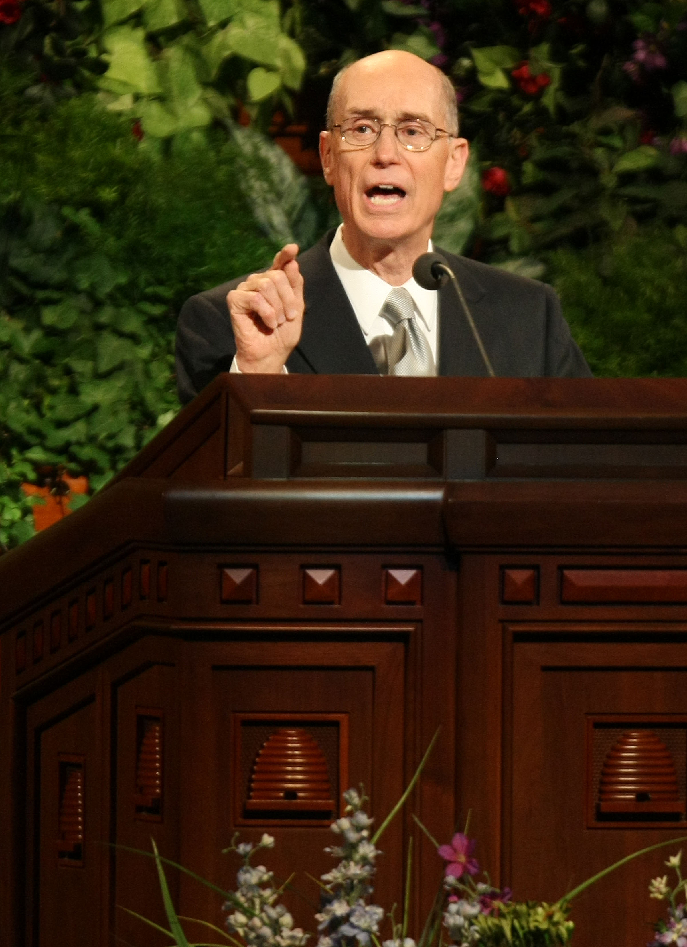 President Henry B. Eyring, first counselor in the First Presidency addresses the audience attending A Celebration of Family History in Salt Lake City, Utah April 29, 2010.