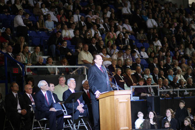 President Thomas S. Monson speaks during the youth celebration Saturday evening. The celebration was held in conjunction with the dedication of the Vancouver British Columbia Temple dedication.