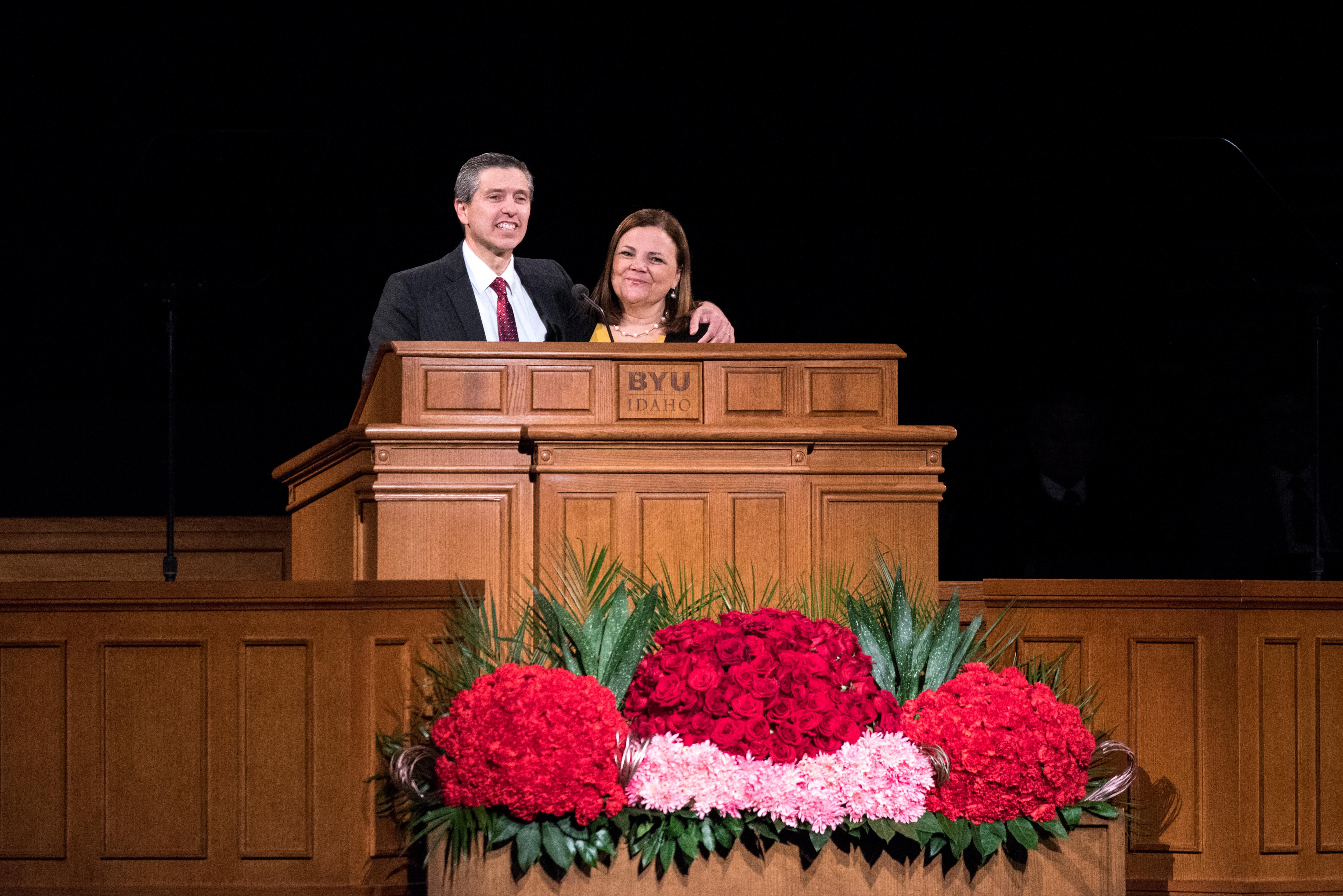 Elder Joaquin E. Costa and Sister Renee Costa speak at a devotional at BYU–Idaho on Feb. 26.