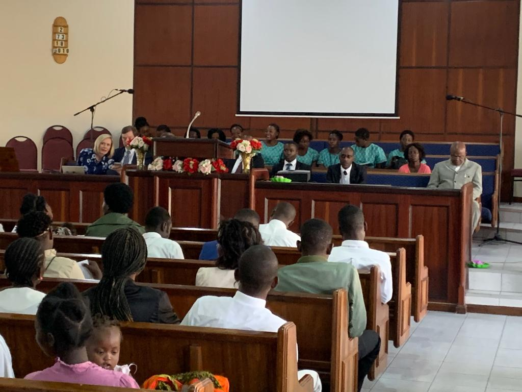 A stake conference in Beira, Mozambique where Sister Bonnie H. Cordon, Young Women general president, addressed members.