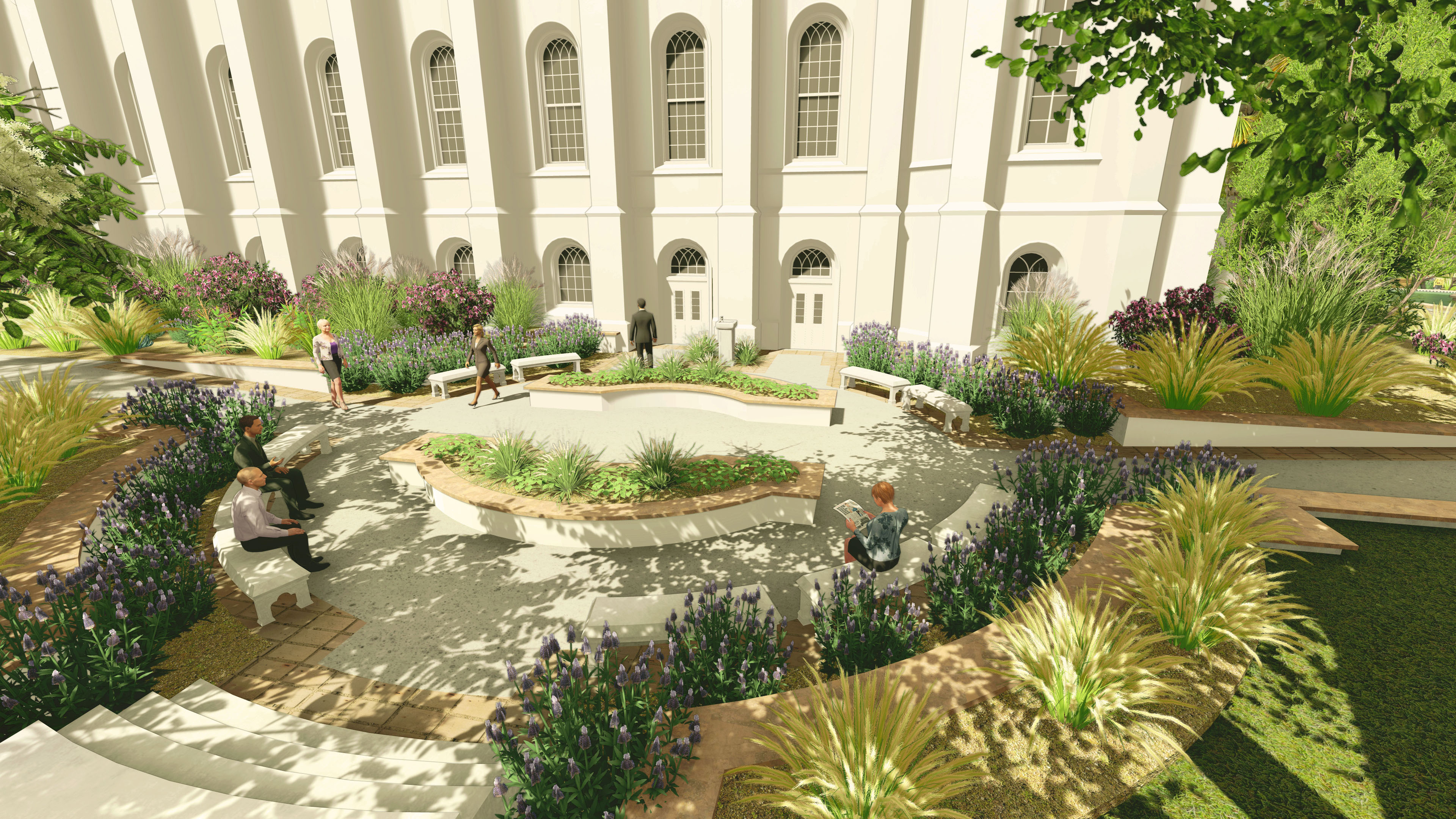 Rendering of the baptistry exit plaza at the St. George Utah Temple. The temple closed on Nov. 4, 2019, for extensive renovations.