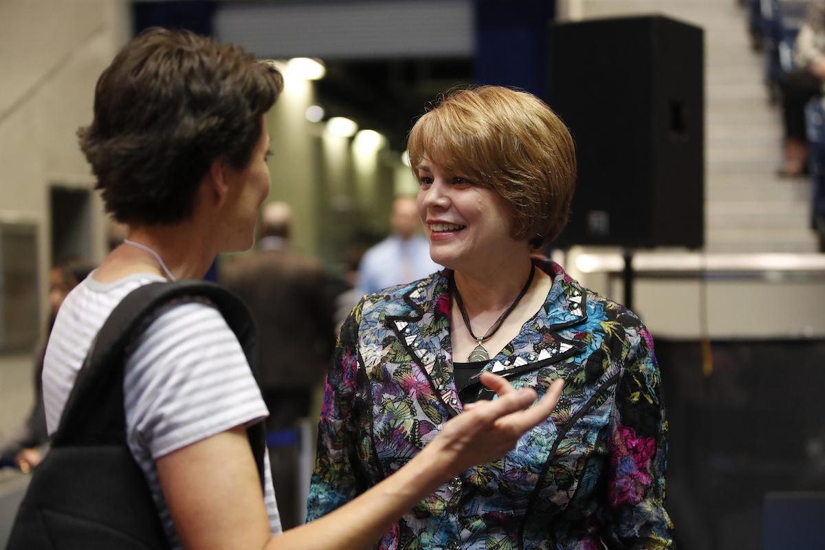 Sister Sharon Eubank of the Relief Society general presidency meets with a woman during BYU Women's Conference on May 3.