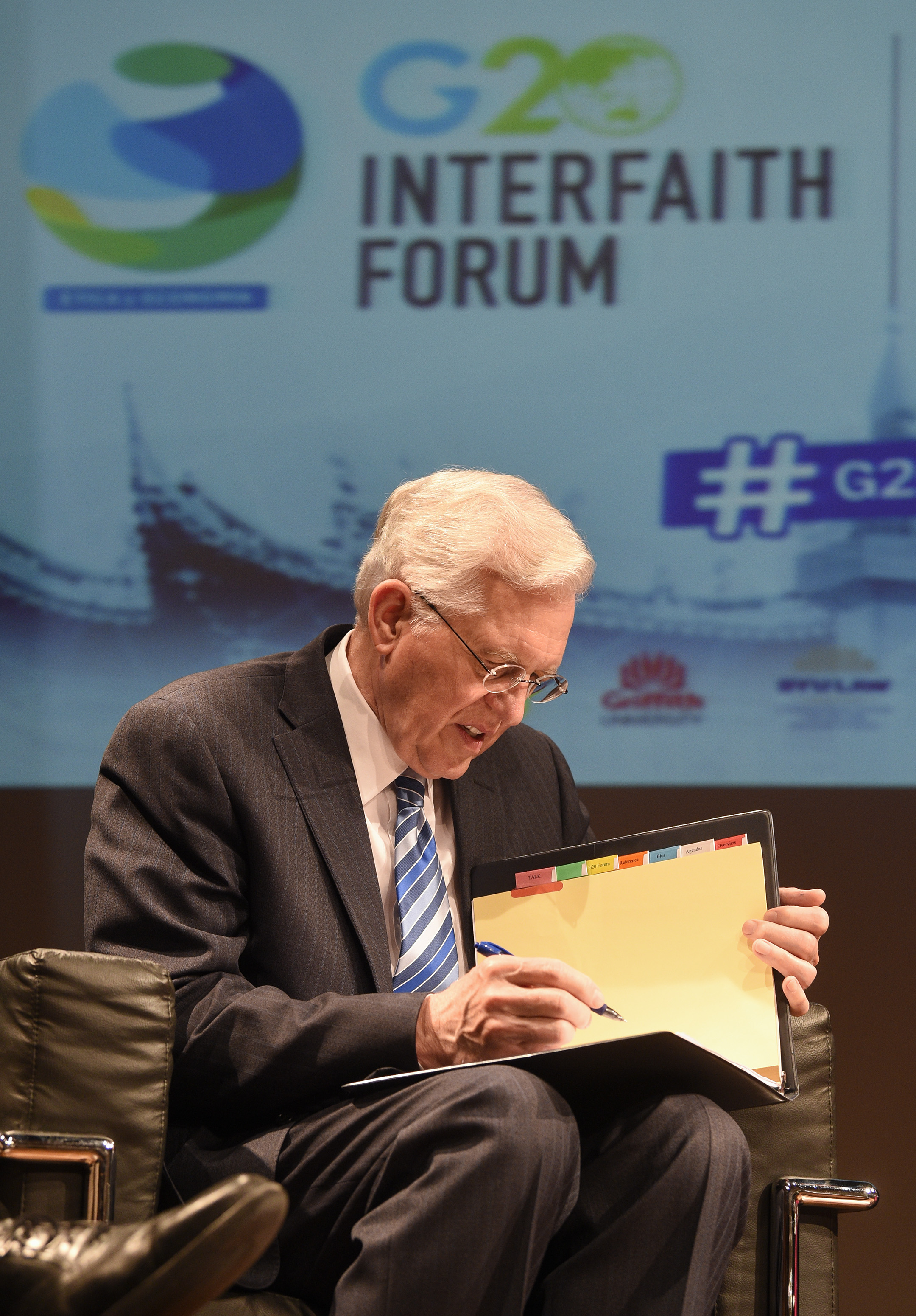 Elder D. Todd Christofferson member of Twelve Apostles of The Church of Jesus Christ of Latter-day Saints before to the speech during a the G20 Interfaith Forum in Buenos Aires, Argentina, Sunday, Sep 26, 2018. (AP Photo/Gustavo Garello)