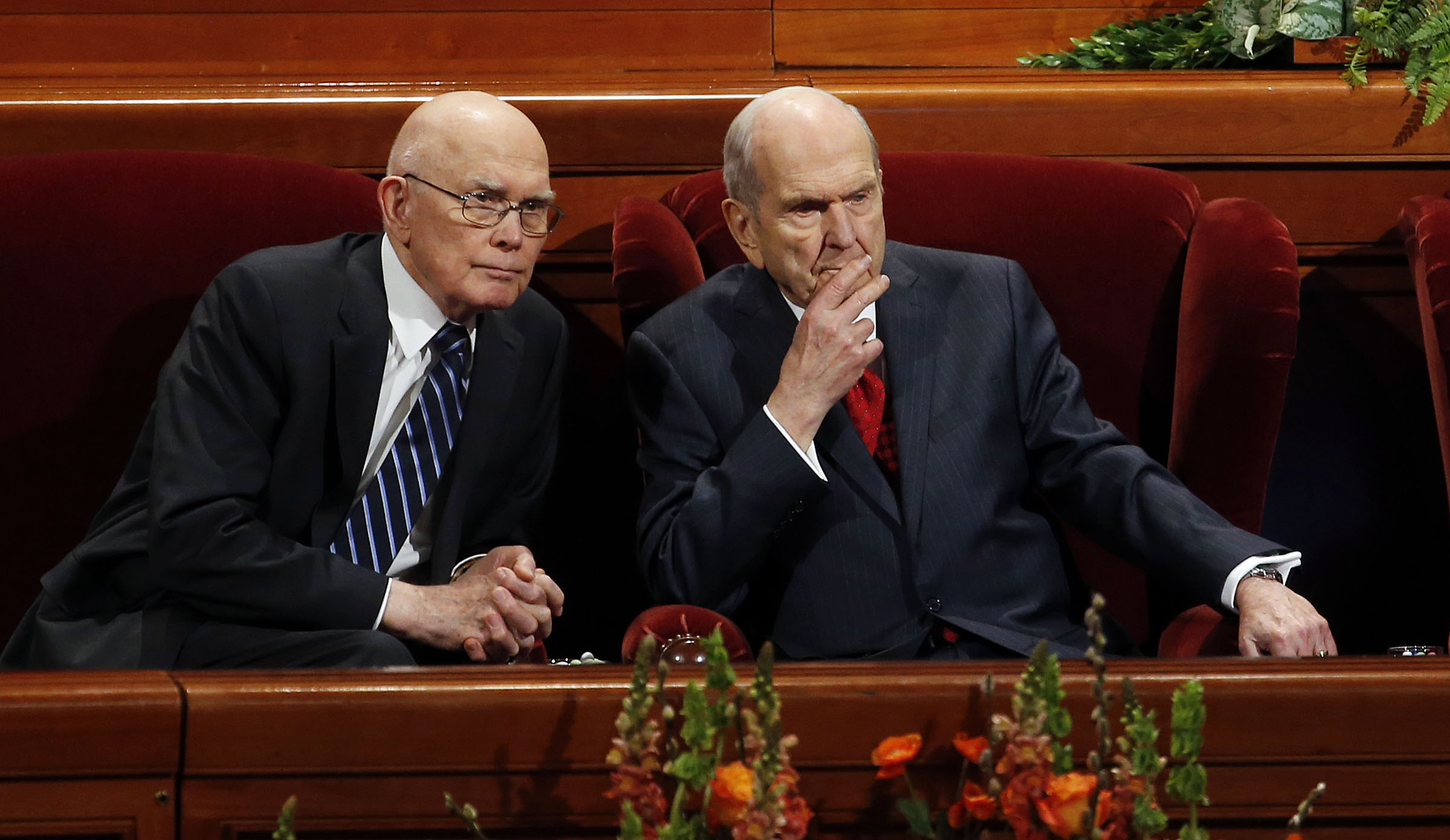 President Russell M. Nelson of The Church of Jesus Christ of Latter-day Saints, right, and President Dallin H. Oaks, first counselor in the First Presidency, confer at the beginning of the priesthood session of the 189th Annual General Conference in Salt Lake City on Saturday, April 6, 2019.