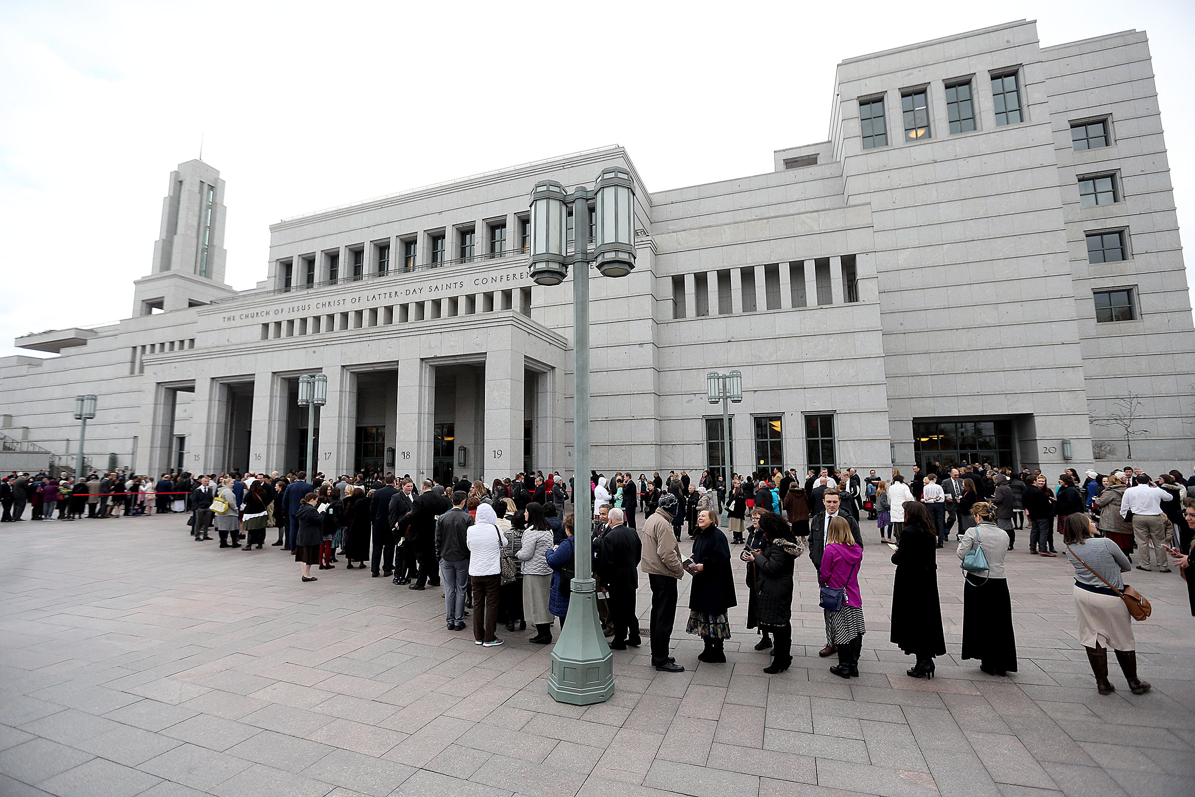 People line up for President Thomas S. Monson's funeral at the Conference Center in Salt Lake City on Friday, Jan. 12, 2018.