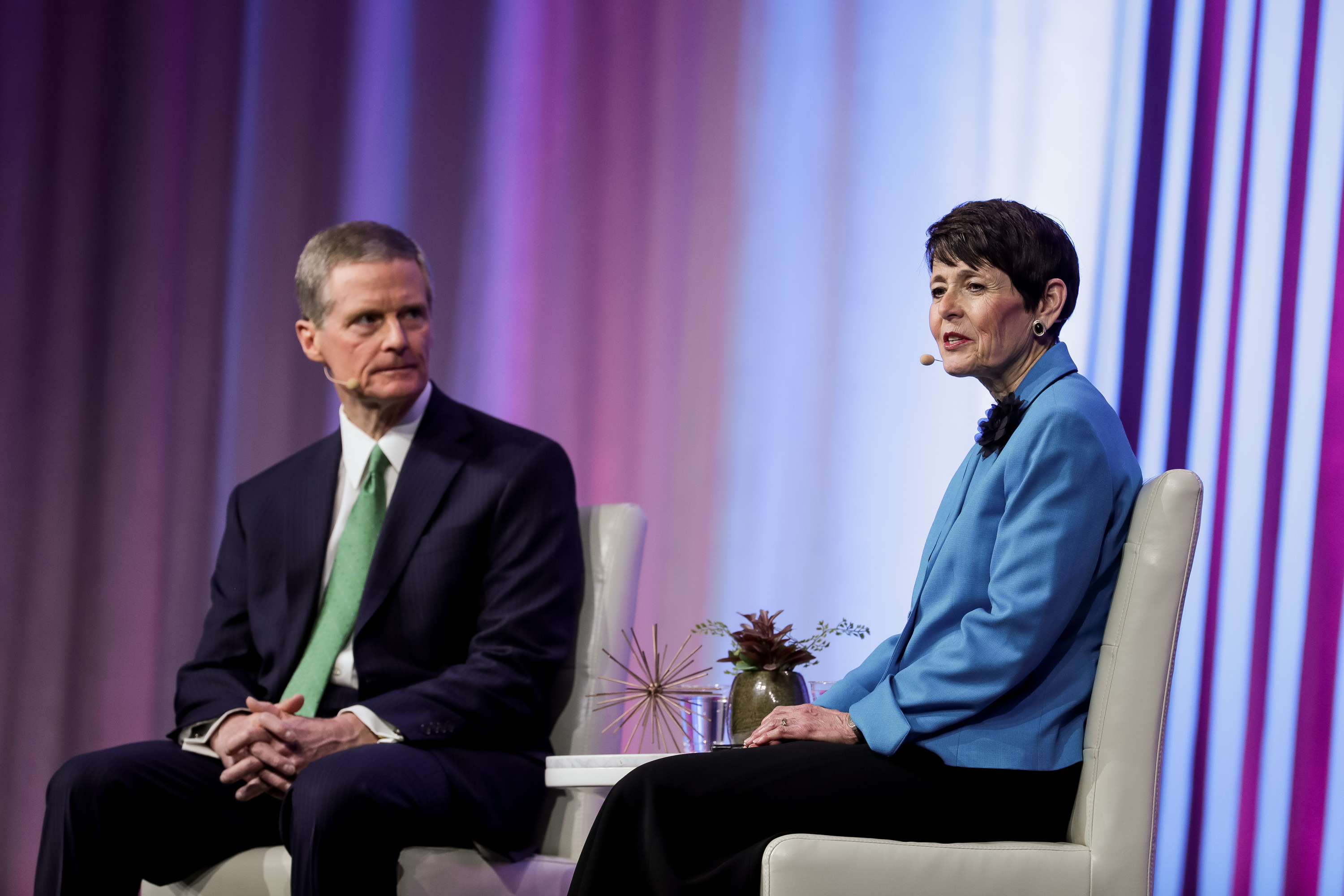 Elder David A. Bednar of the Quorum of the Twelve Apostles and his wife, Sister Susan Bednar, speak during the RootsTech conference, held at the Salt Palace in Salt Lake City on Saturday, March 2, 2019.