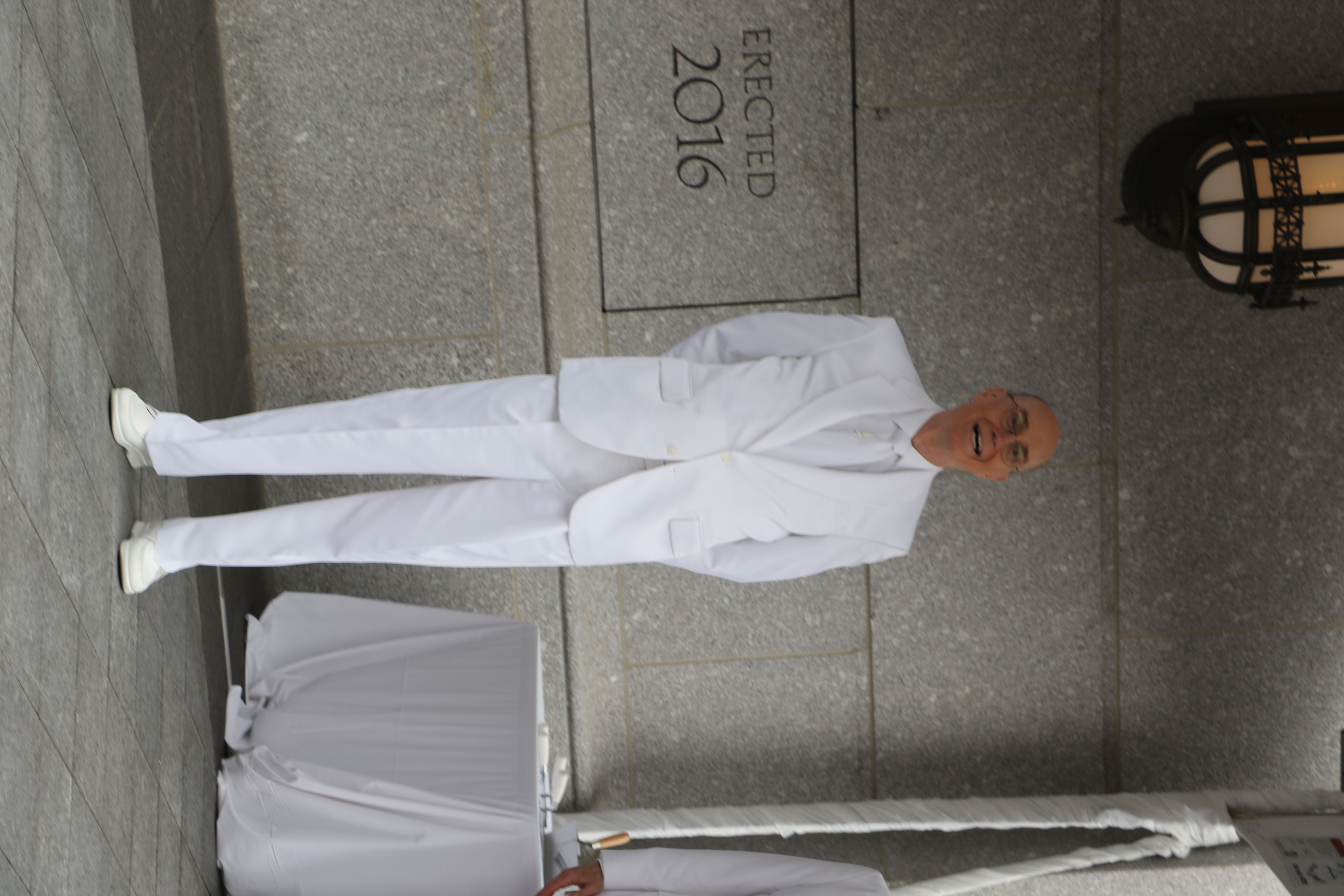 President Henry B. Eyring, first counselor in the First Presidency, participates in the cornerstone ceremony of the Philadelphia Pennsylvania Temple on Sept. 18, 2016.