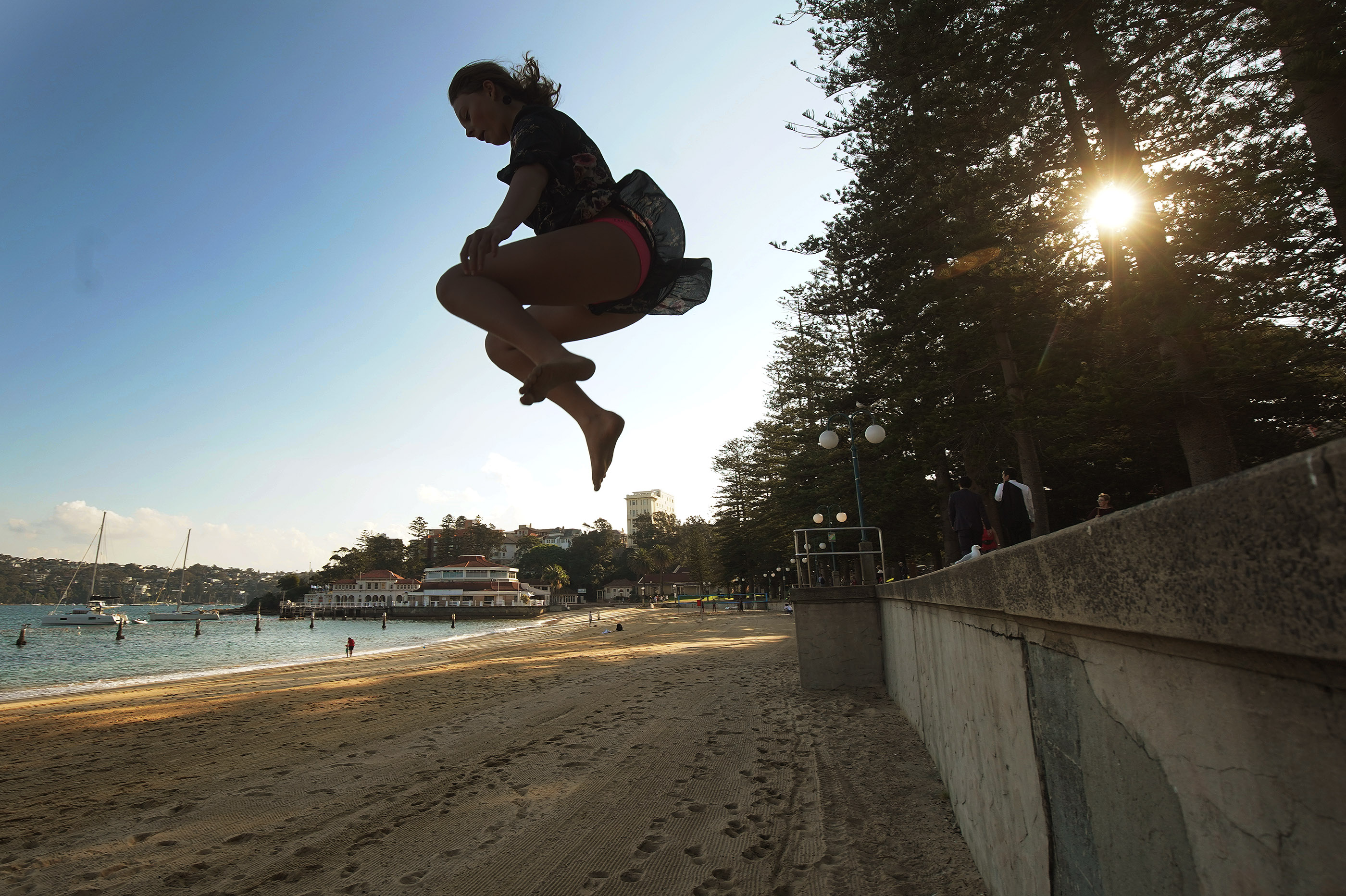 A girl jumps onto the beach at Manly Beach on May 18, 2019, in Manly, Australia. President Russell M. Nelson, with his wife, Sister Wendy Nelson, visited Sydney, Australia, on his nine-day, seven-nation Pacific Ministry Tour.