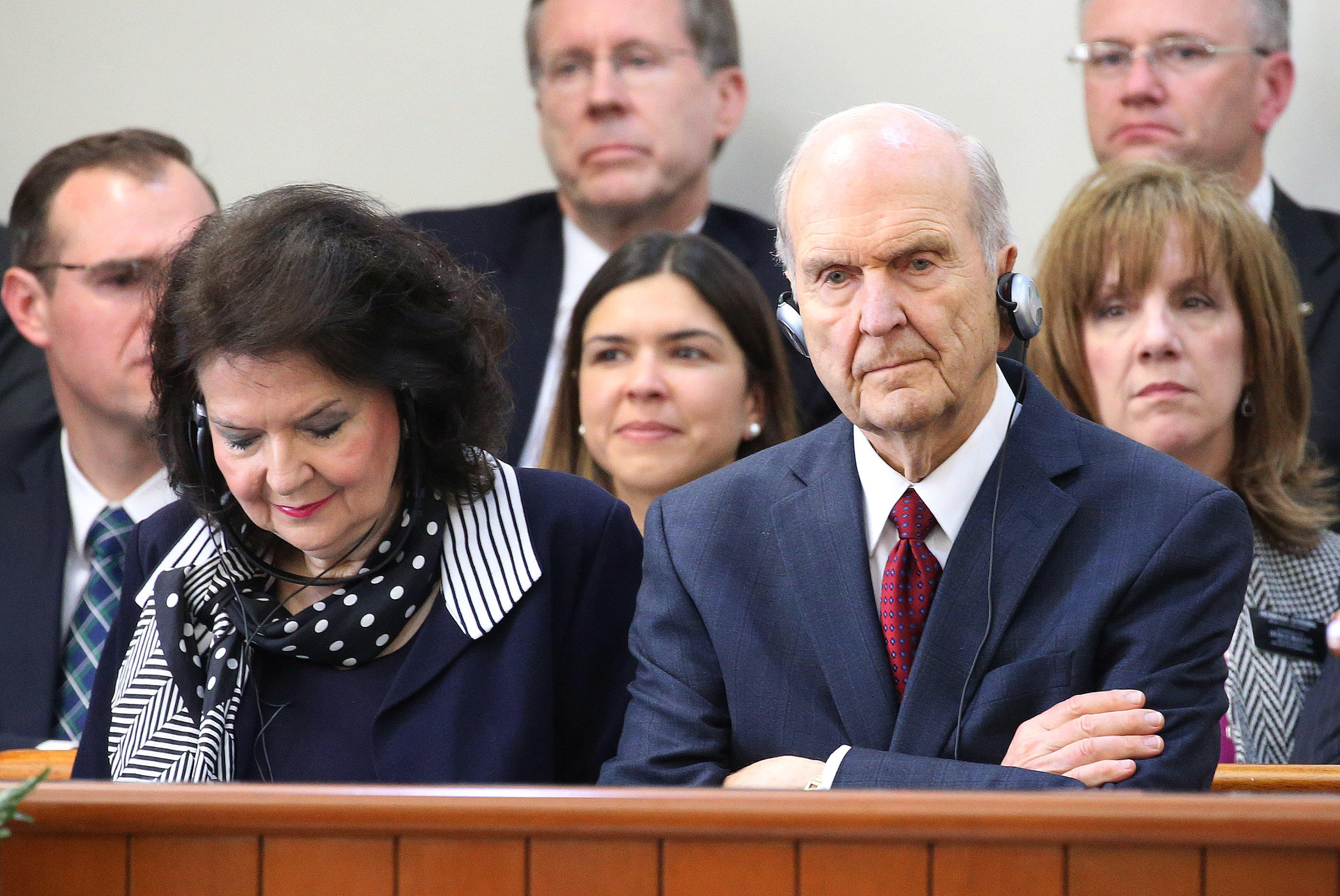 President Russell M. Nelson of The Church of Jesus Christ of Latter-day Saints and his wife, Sister Wendy Nelson, listen through an interpreter during a missionary meeting in Lima, Peru on Oct. 20, 2018.