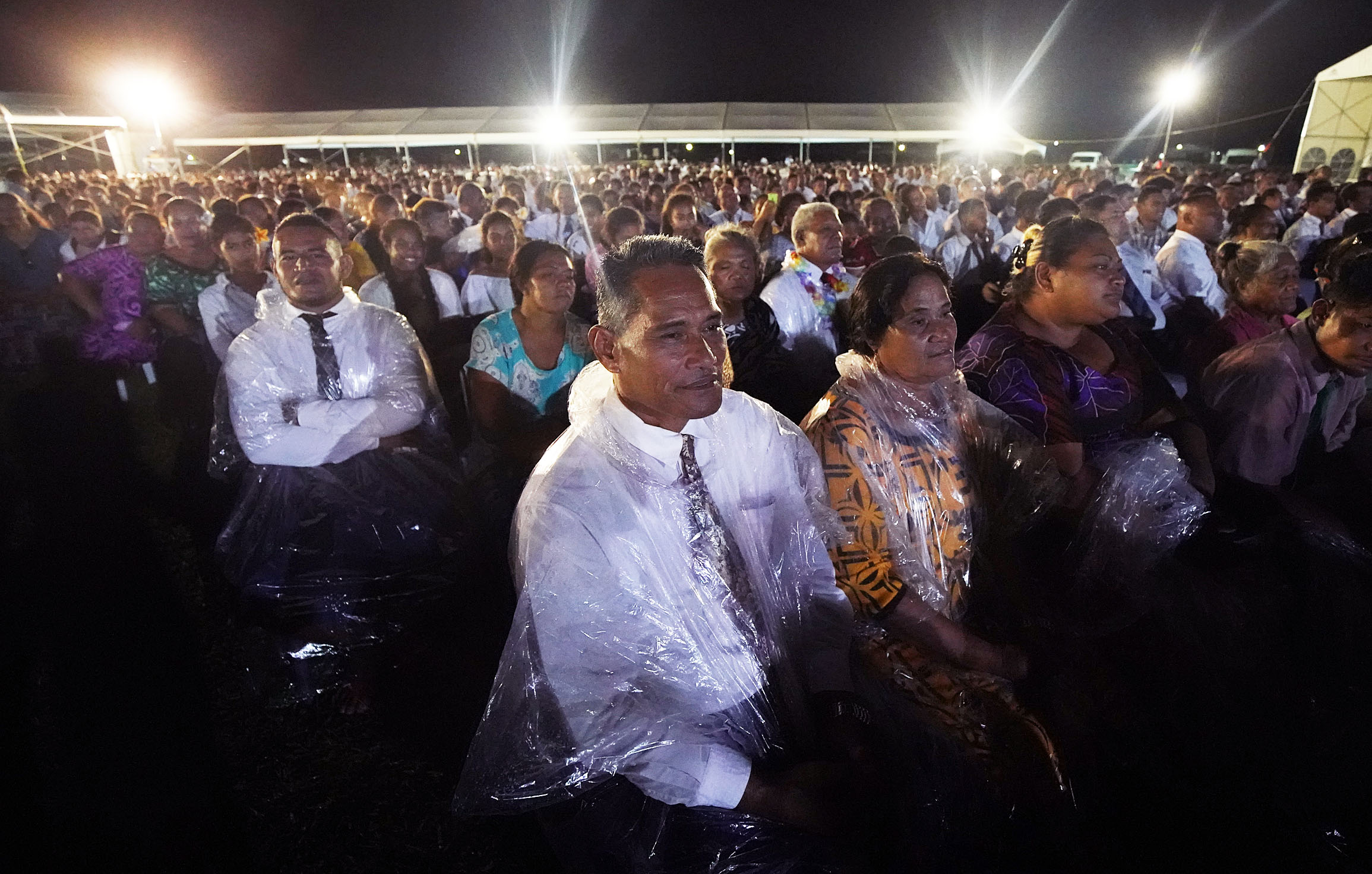Ioane Savai'inaea and his wife, Oliana, listen during a devotional with President Russell M. Nelson of The Church of Jesus Christ of Latter-day Saints in Apia, Samoa, on Saturday, May 18, 2019.