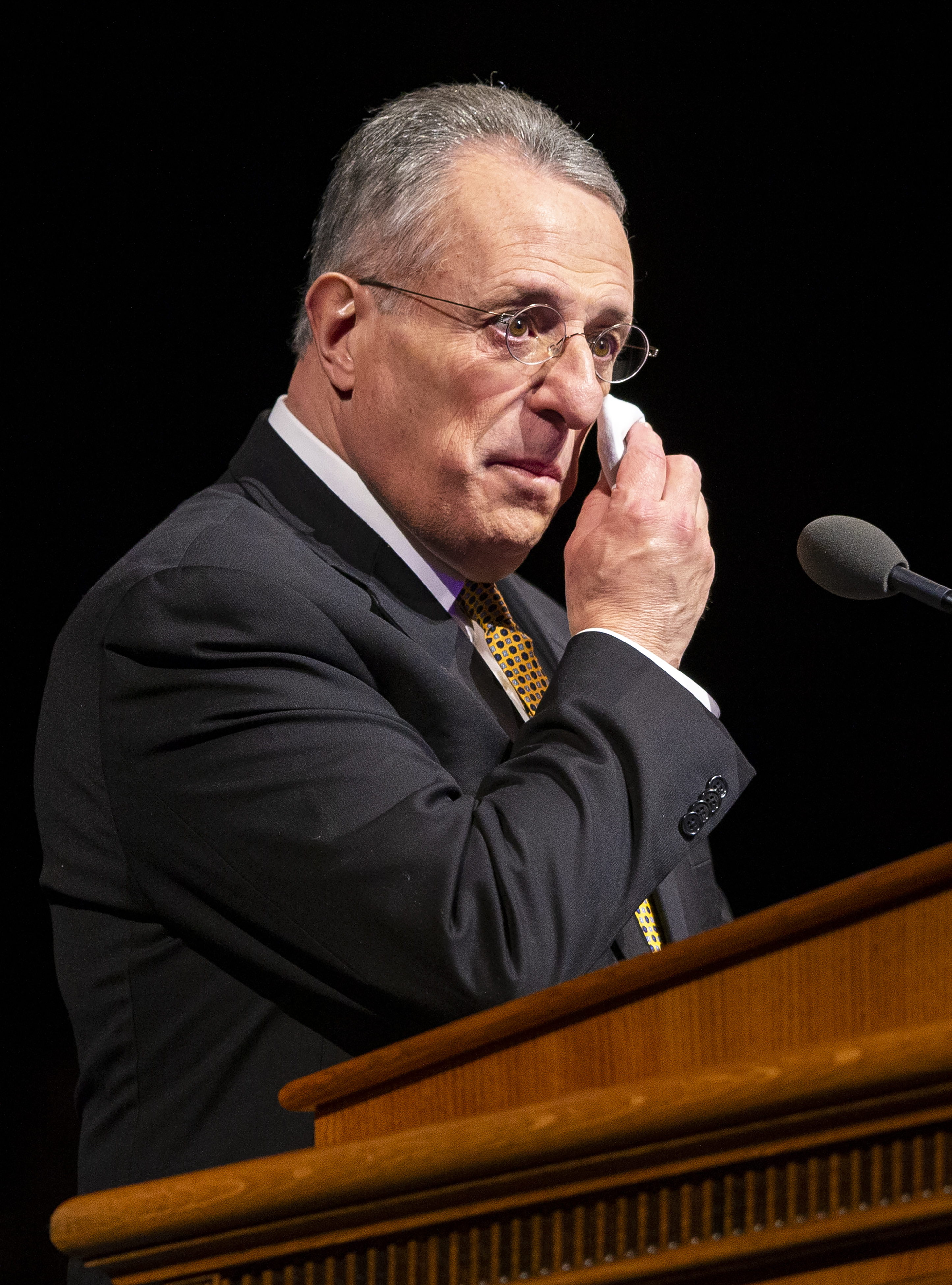 Elder Ulisses Soares of the Quorum of the Twelve Apostles of The Church of Jesus Christ of Latter-day Saints wipes tears from his eyes as he speaks at a devotional at BYU in Provo on Tuesday, Feb. 5, 2019.