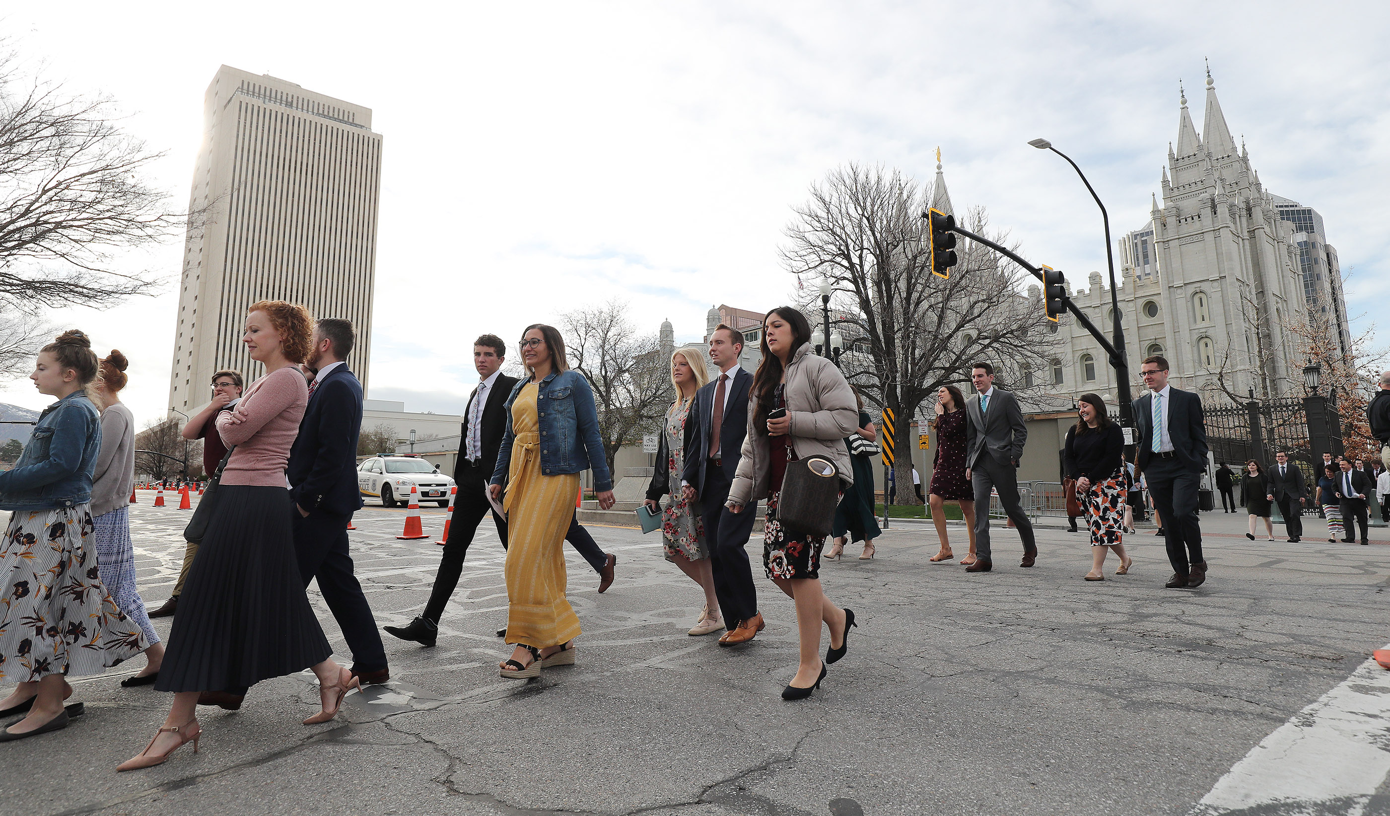 Conferencegoers arrive at the Conference Center for the Sunday morning session 189th Annual General Conference of The Church of Jesus Christ of Latter-day Saints in Salt Lake City on Sunday, April 7, 2019.