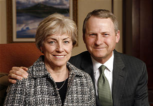 Sister Jane C. Curtis and Elder LeGrand R. Curtis of the Seventy pose for a photo in April 2011. He will be serving in the Africa West Area presidency.