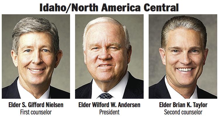 Idaho/North America Central Area presidency: Elder Wilford W. Andersen, Elder S. Gifford Nielsen and Elder Brian K. Taylor.
