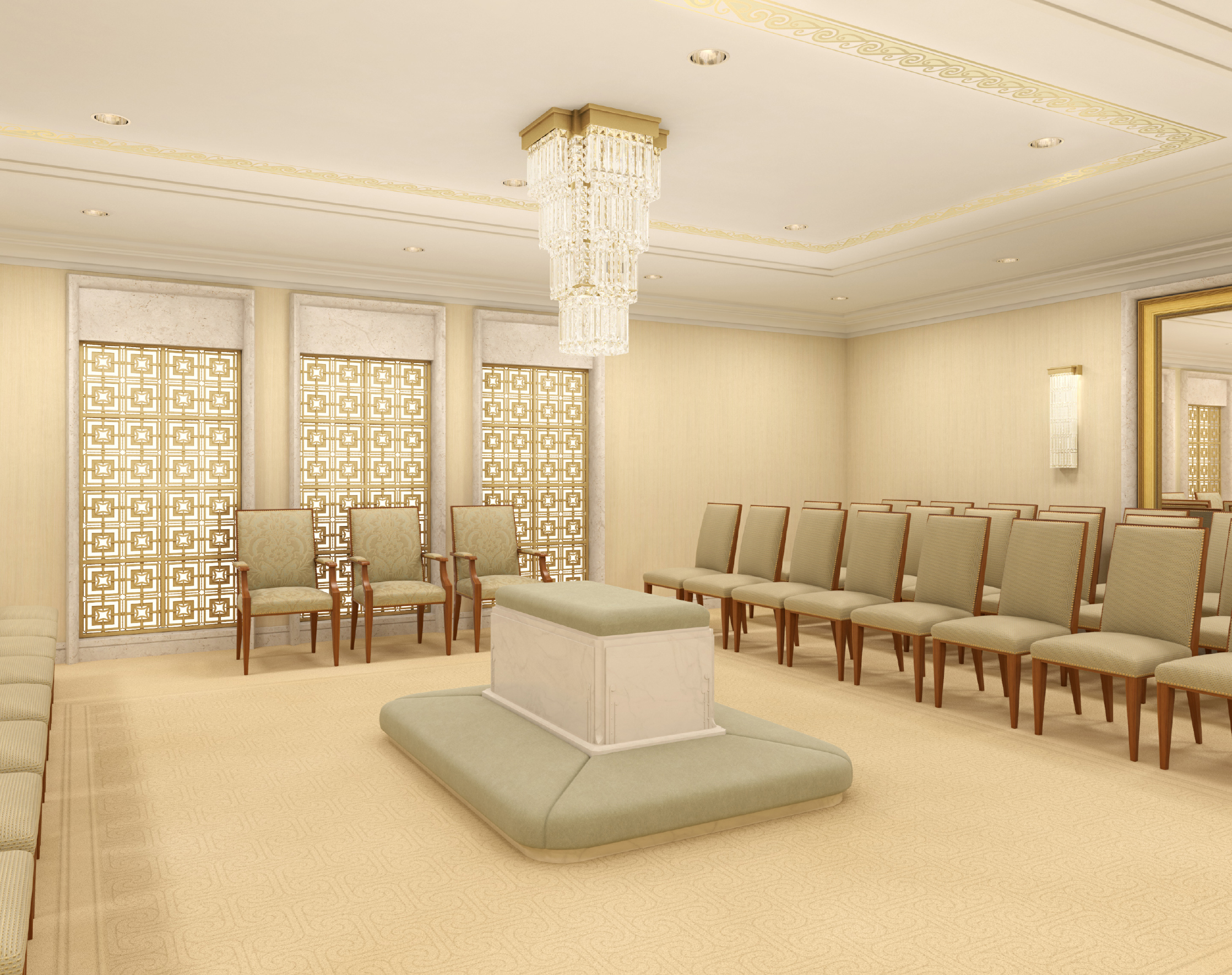 Rendering of a sealing room in the Hamilton New Zealand Temple.