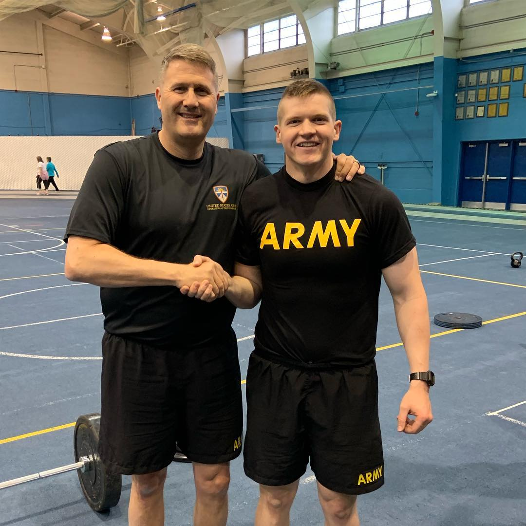 """U.S. Army Brig. Gen. William D. """"Hank"""" Taylor, left, with recent BYU graduate/newly commissioned second lieutenant Spencer Allen during a fitness session on campus."""