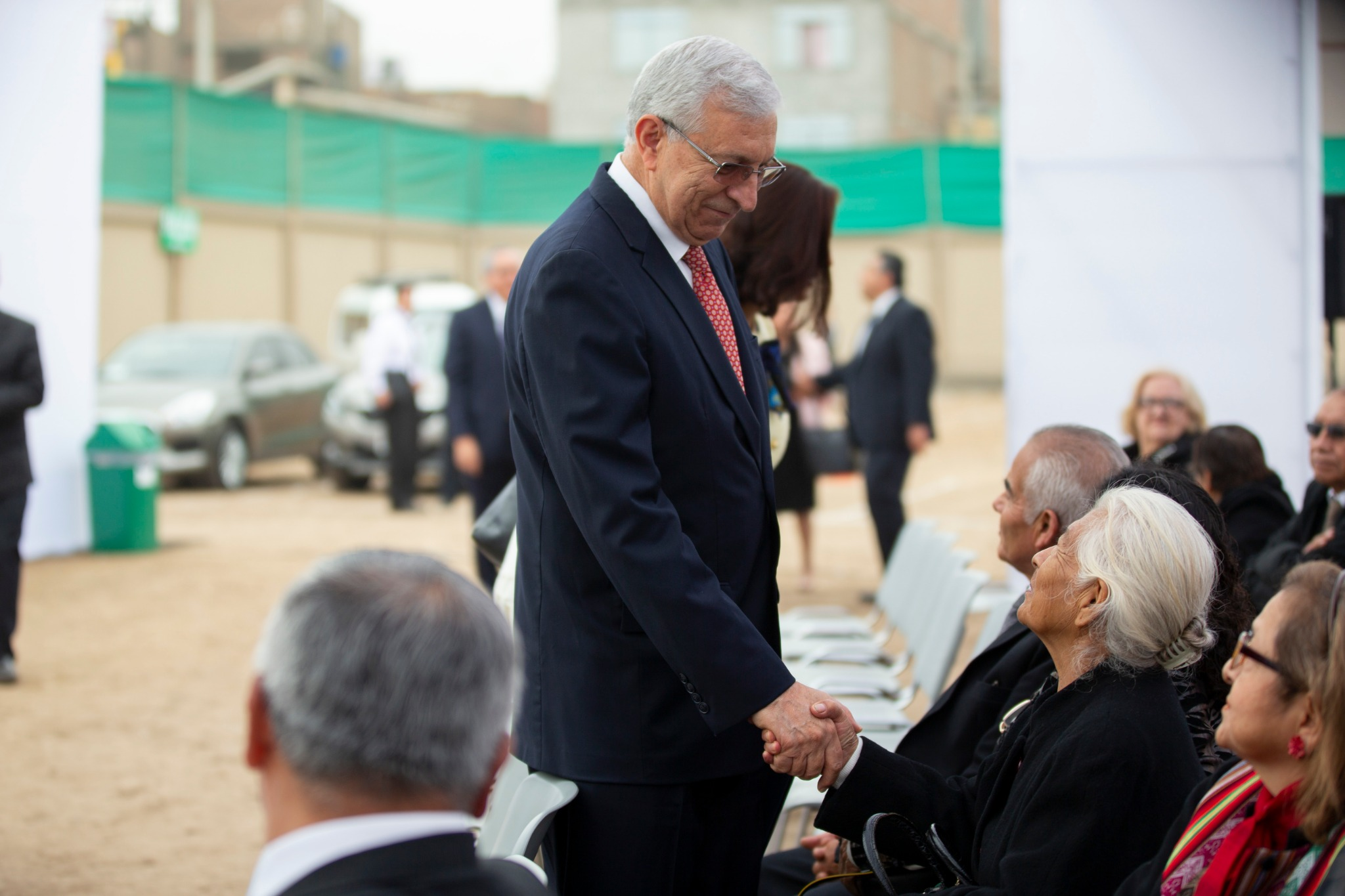 Elder Enrique R. Falabella, a General Authority Seventy and president of the South America Northwest Area, welcomes Latter-day Saints attending the groundbreaking ceremony of the Lima Peru Olivos Temple on Saturday, June 8, 2019.