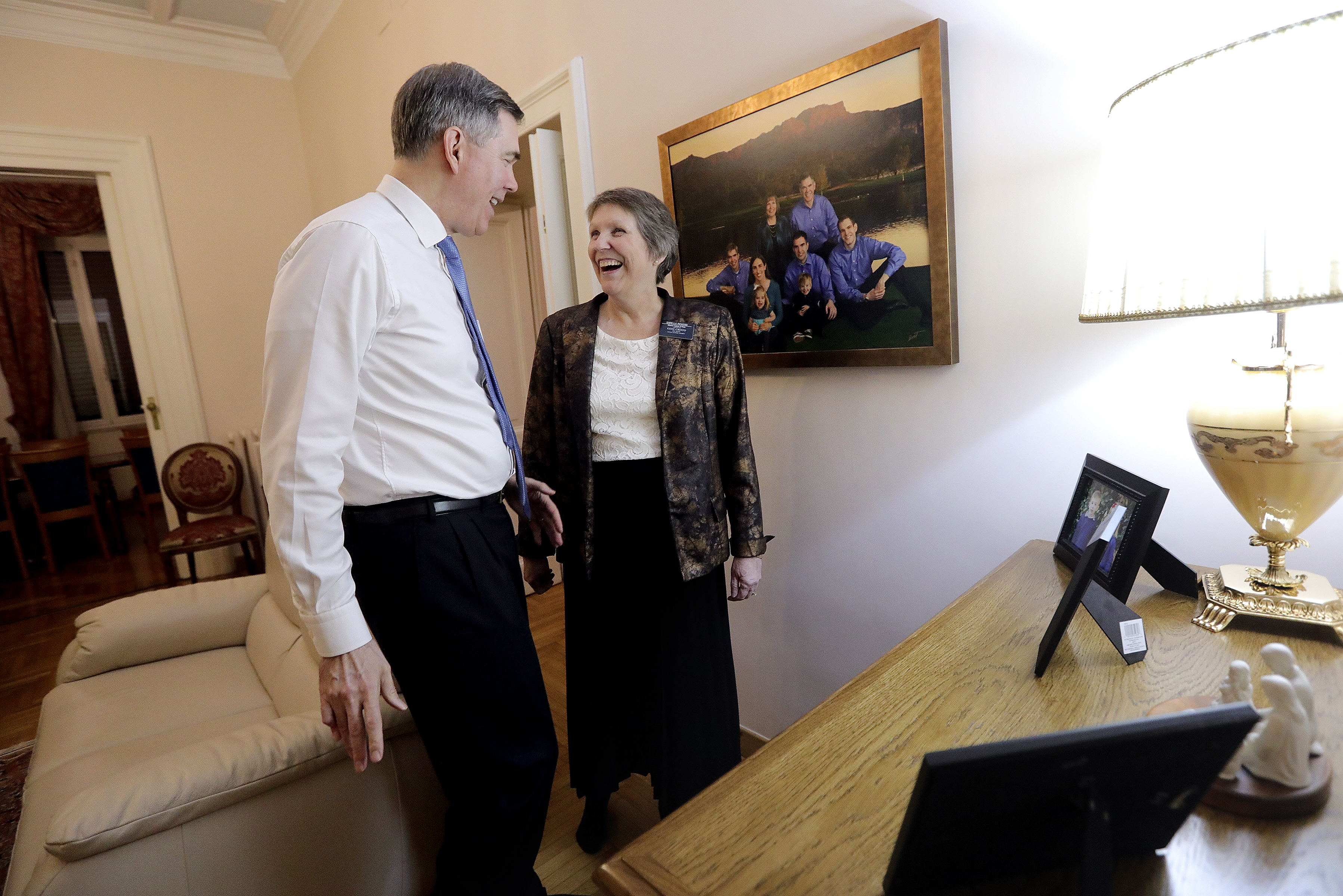President Michael D. Pickerd, of the Italy Rome Mission, and Sister Marian W. Pickerd laugh at the mission home in Rome, Italy, on Friday, Nov. 16, 2018.