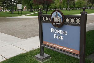 Pioneer Park in Salt Lake City is the site of the Mormon Pioneer's first encampment site after arriving in the Salt Lake Valley in 1847.