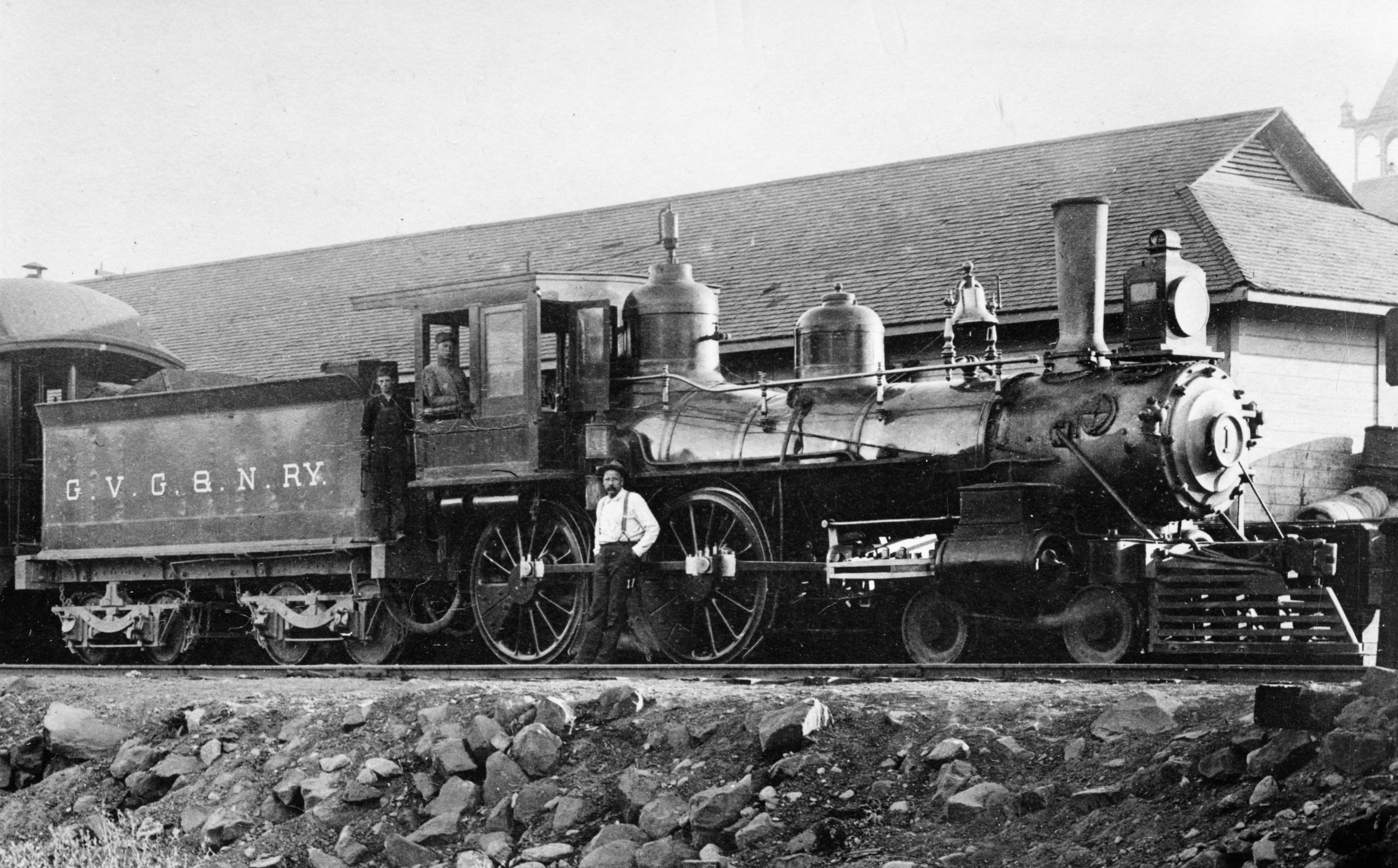 """Central Pacific Railroad's #60, """"Jupiter,"""" was used at the driving of the golden spike in Promontory, Utah, on May 10, 1869."""
