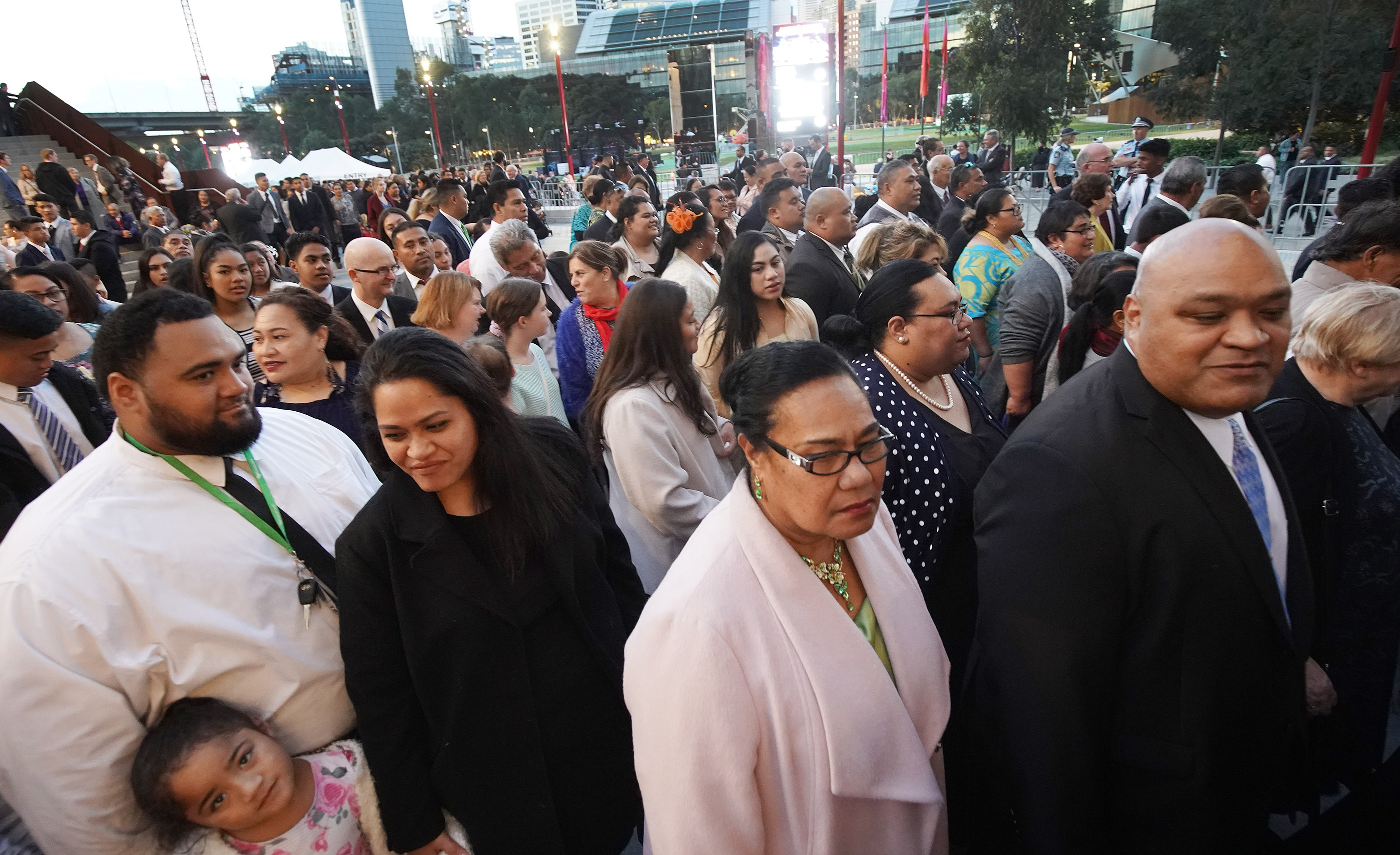 Attendees enter the International Conference Center to hear President Russell M. Nelson of The Church of Jesus Christ of Latter-day Saints on May 19, 2019, in Sydney, Australia.
