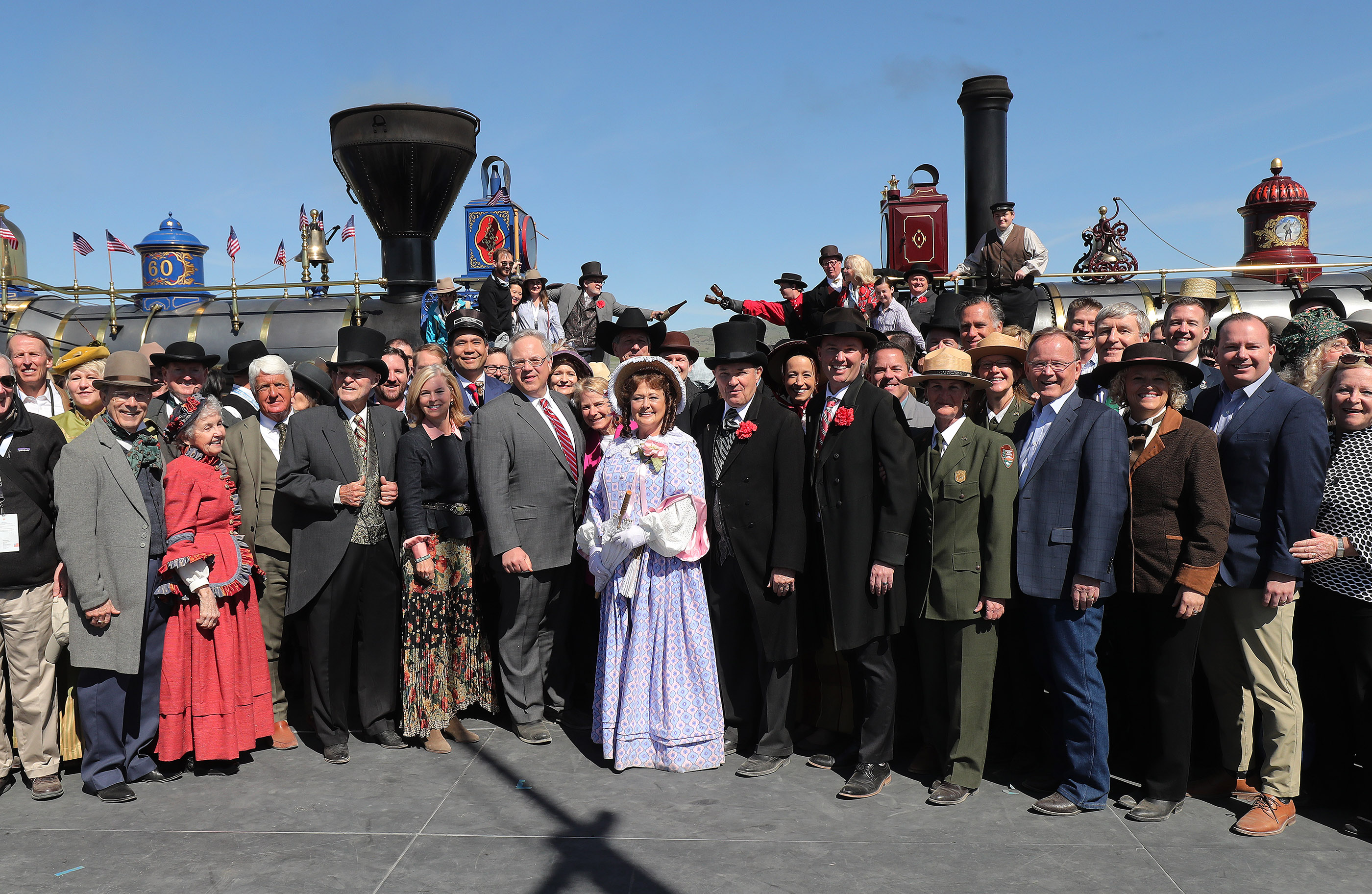 The historic photo from 1869 is recreated during the 150th anniversary celebration at the Golden Spike National Historical Park in Promontory Summit on Friday, May 10, 2019.