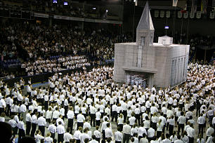"""Finale of Vancouver Youth Temple Celebration, """"A Beacon to the World,"""" features participants looking to the new temple."""