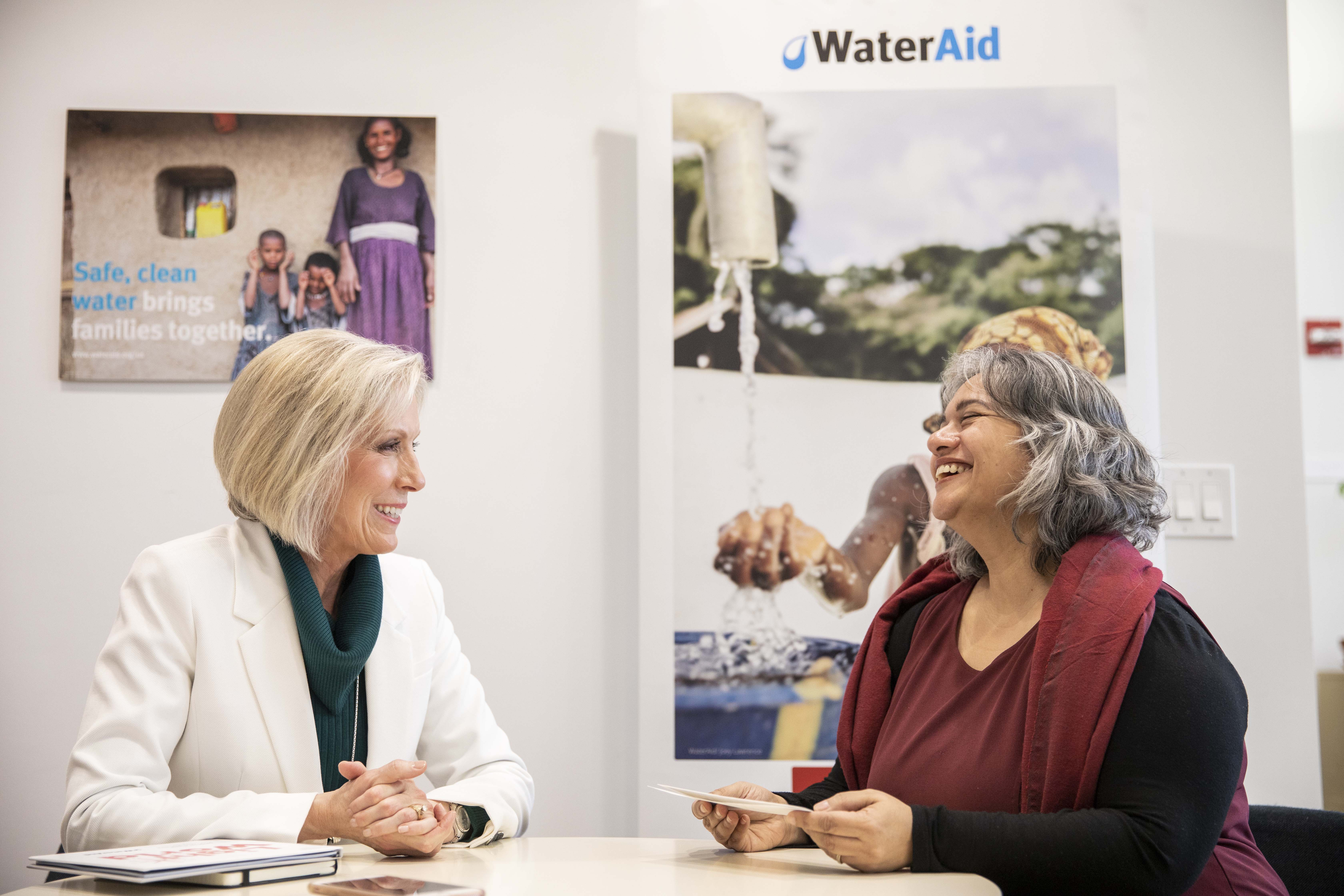 Sister Joy D. Jones, Primary general president, meets with Sarina Prabasi, CEO of WaterAid America, in New York City, Tuesday, February 12, 2019.