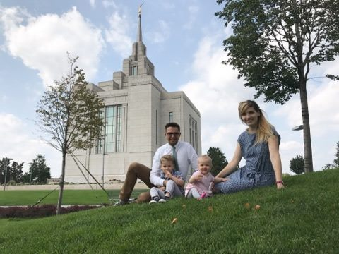 Renat Kashapov with his wife, Lena, and their two children outside the Kiev Ukraine Temple. Although they live nearby in Moscow, it has become increasingly difficult in recent years to get to the temple in Kiev.