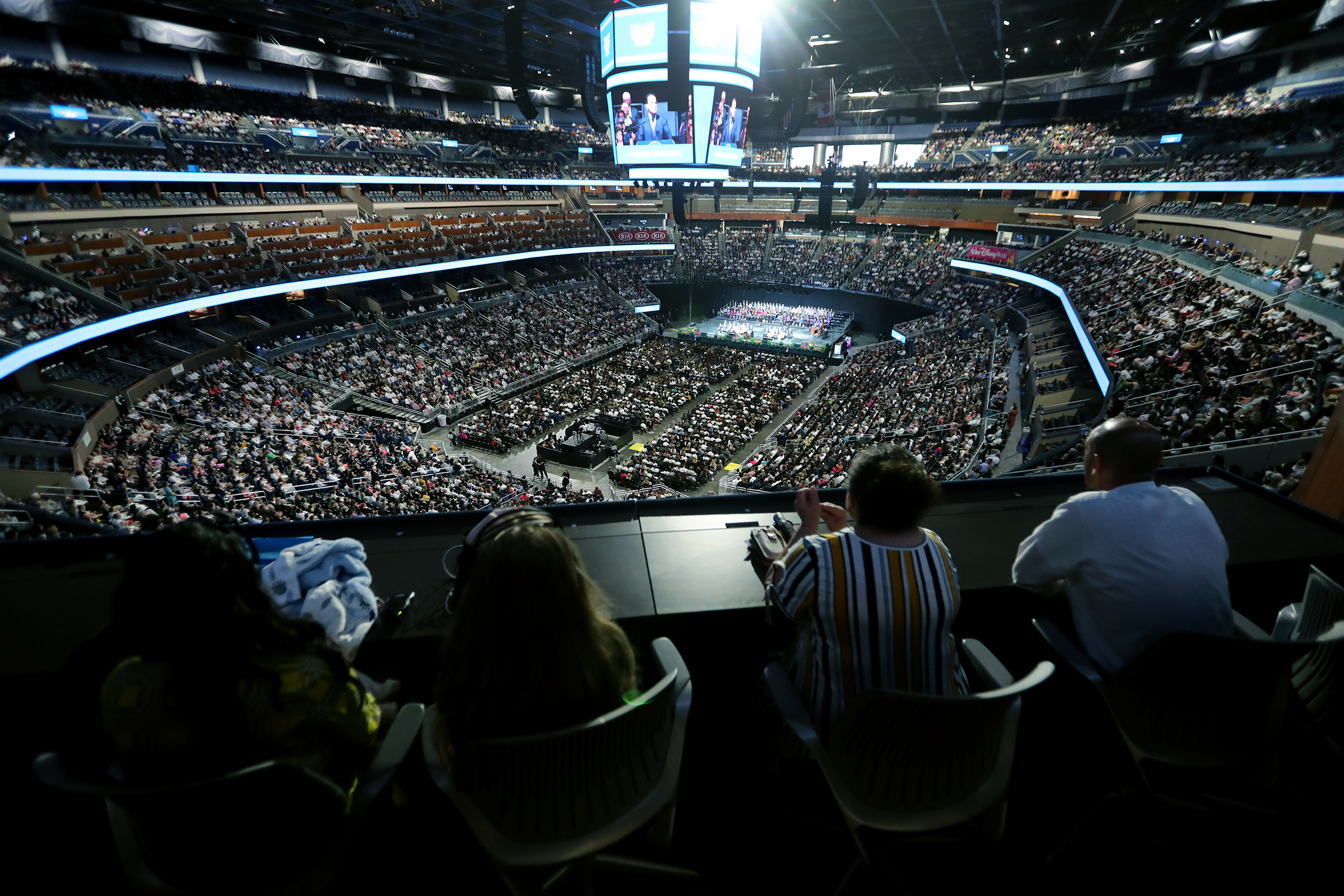 A devotional crowd of 15,500 gathers inside the Amway Center in Orlando, Florida. to listen to President Russell M. Nelson and others on Sunday, June 9, 2019.