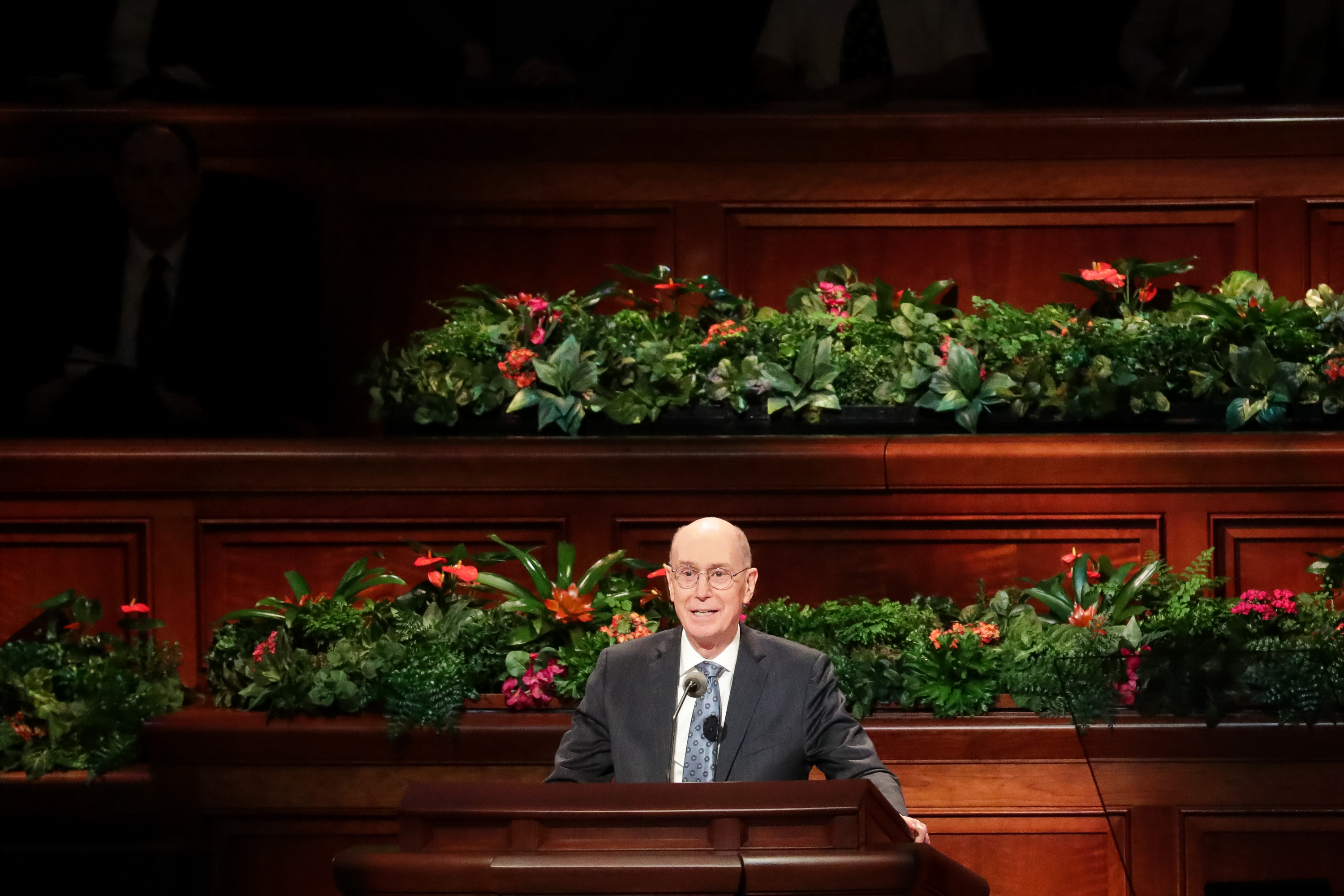 President Henry B. Eyring, second counselor in the First Presidency, speaks during the Saturday morning session of the 188th Semiannual General Conference of The Church of Jesus Christ of Latter-day Saints in the Conference Center in Salt Lake City on Saturday, Oct. 6, 2018.