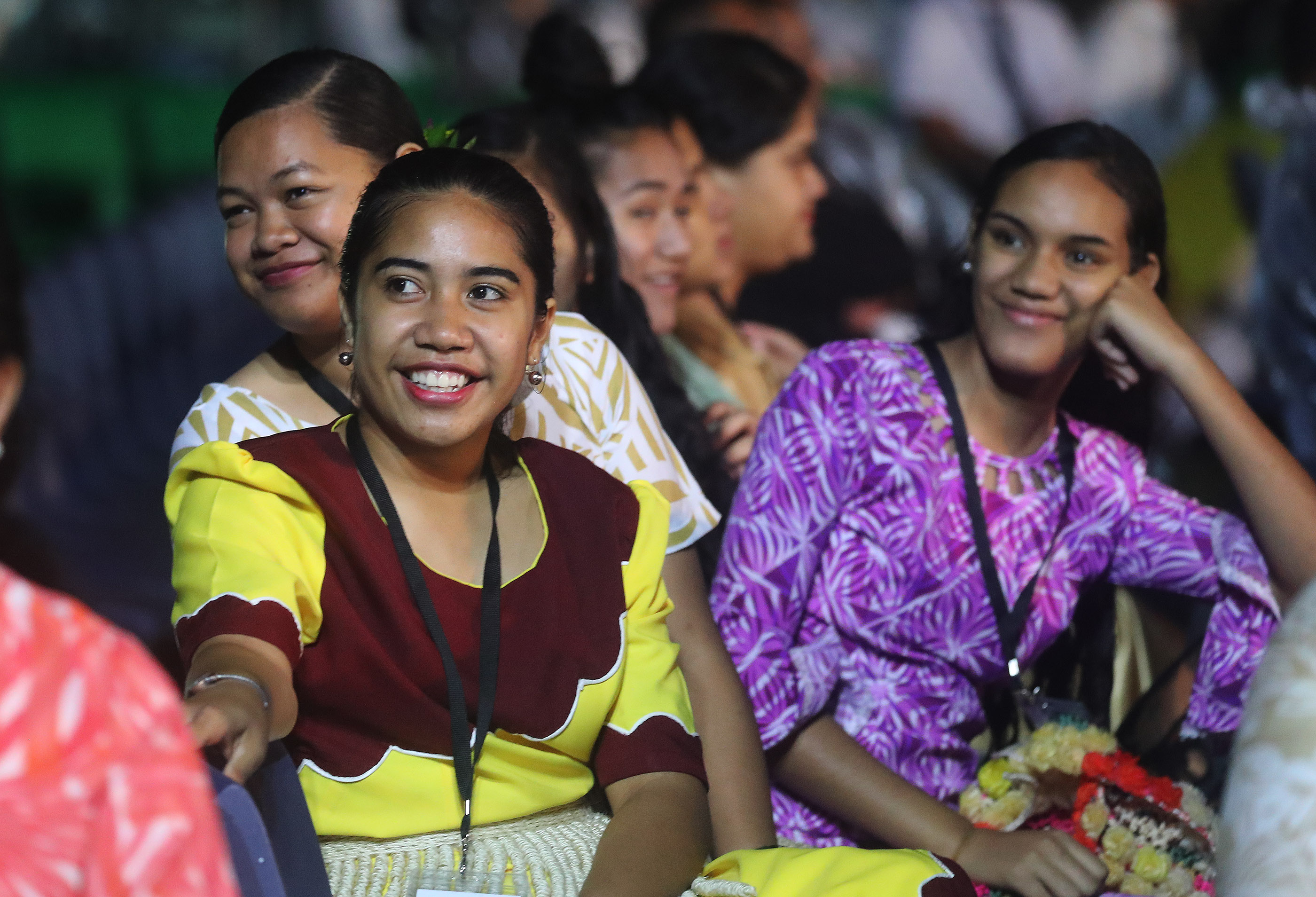 Lisia Tuakoi, Kalonisita Tonga and Aulola Langi listen during a devotional in Nuku'alofa, Tonga, on May 23, 2019.