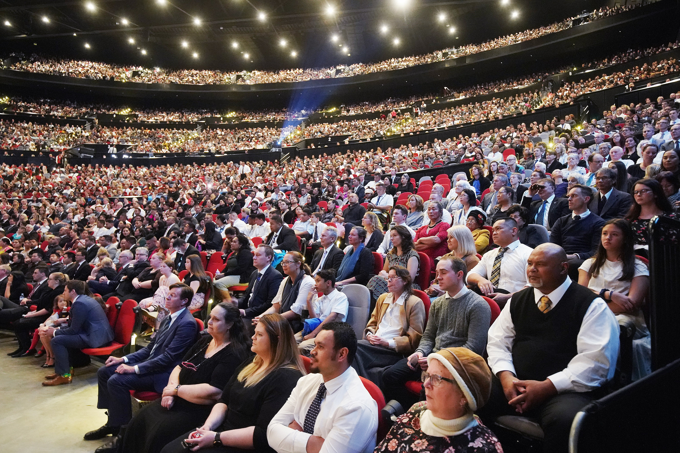 Attendees listen to President Russell M. Nelson of The Church of Jesus Christ of Latter-day Saints at the International Conference Center on May 19, 2019, in Sydney, Australia.
