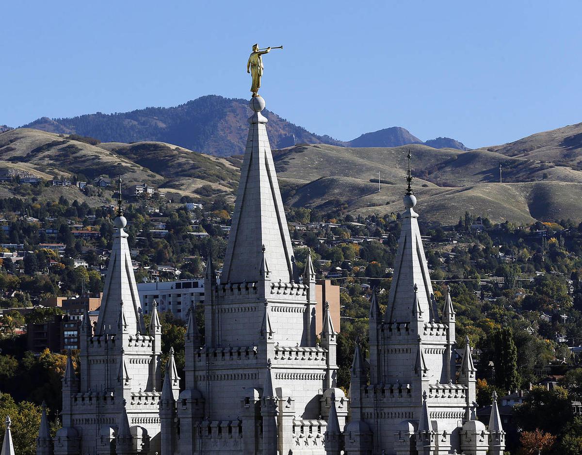 The Salt Lake Temple and Angel Moroni in Salt Lake City, Monday, Oct. 13, 2014.