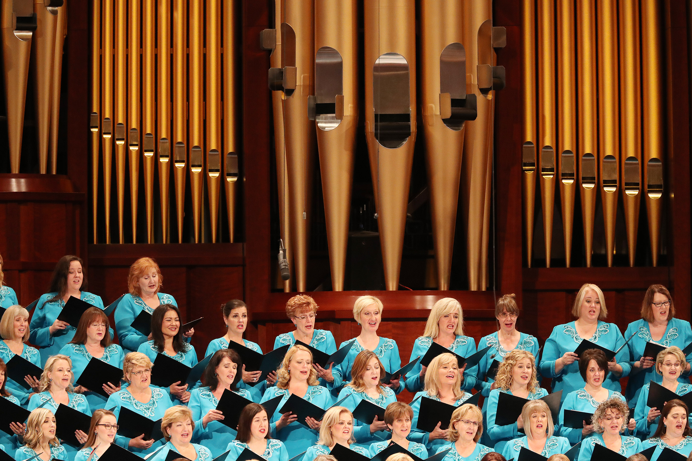 The Tabernacle Choir at Temple Square sings during the Sunday afternoon session of the 188th Semiannual General Conference of The Church of Jesus Christ of Latter-day Saints in the Conference Center in Salt Lake City on Sunday, Oct. 7, 2018.