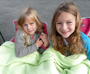 Ava and Kailee Daniel, daughters of Jacquie Daniel, came prepared for the chilly morning. They are from Lewisburg, PA.