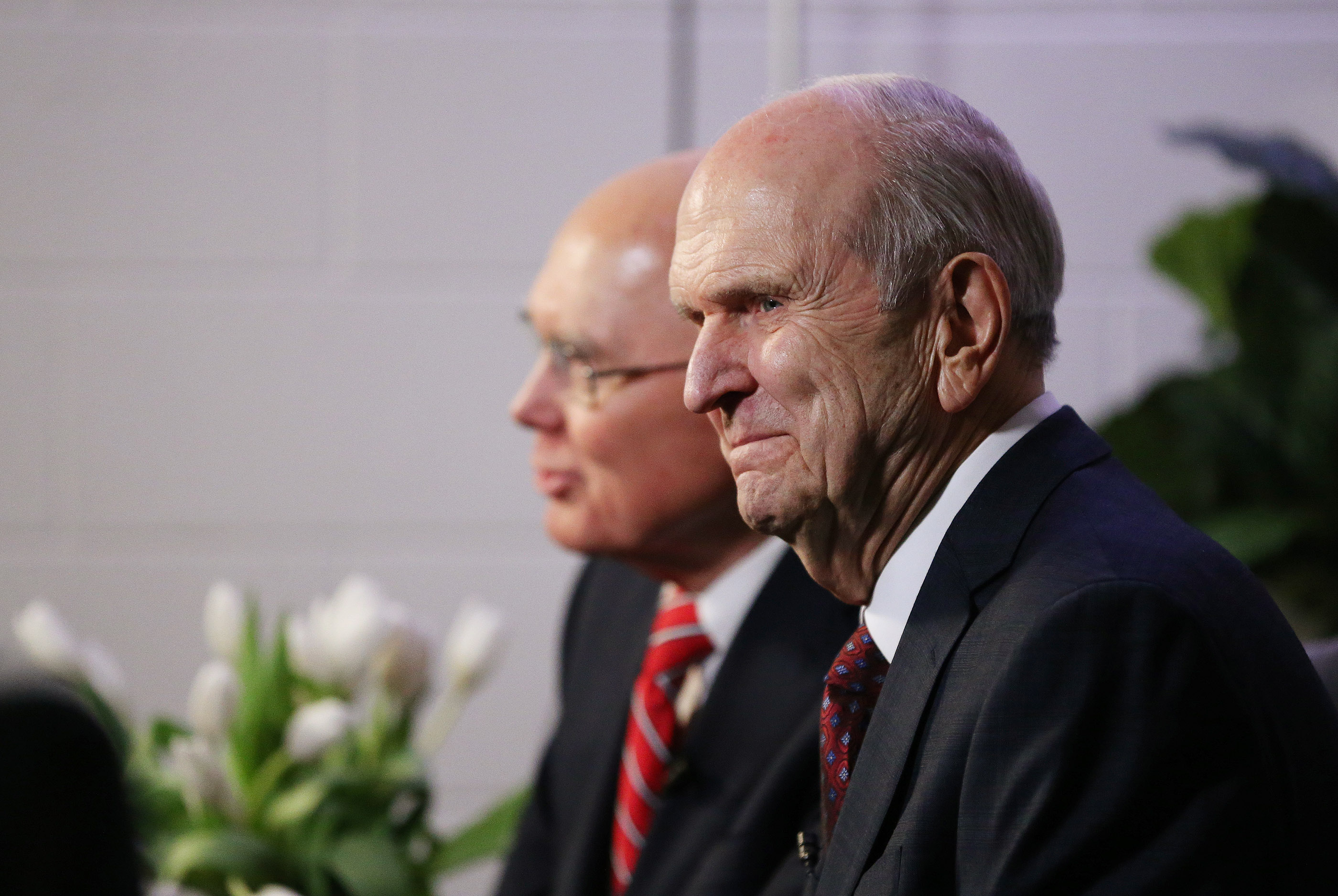 President Russell M. Nelson of The Church of Jesus Christ of Latter-day Saints and President Dallin H. Oaks, first counselor in the First Presidency, smile during a press conference at the State Farm Stadium in Phoenix on Sunday, Feb. 10, 2019.