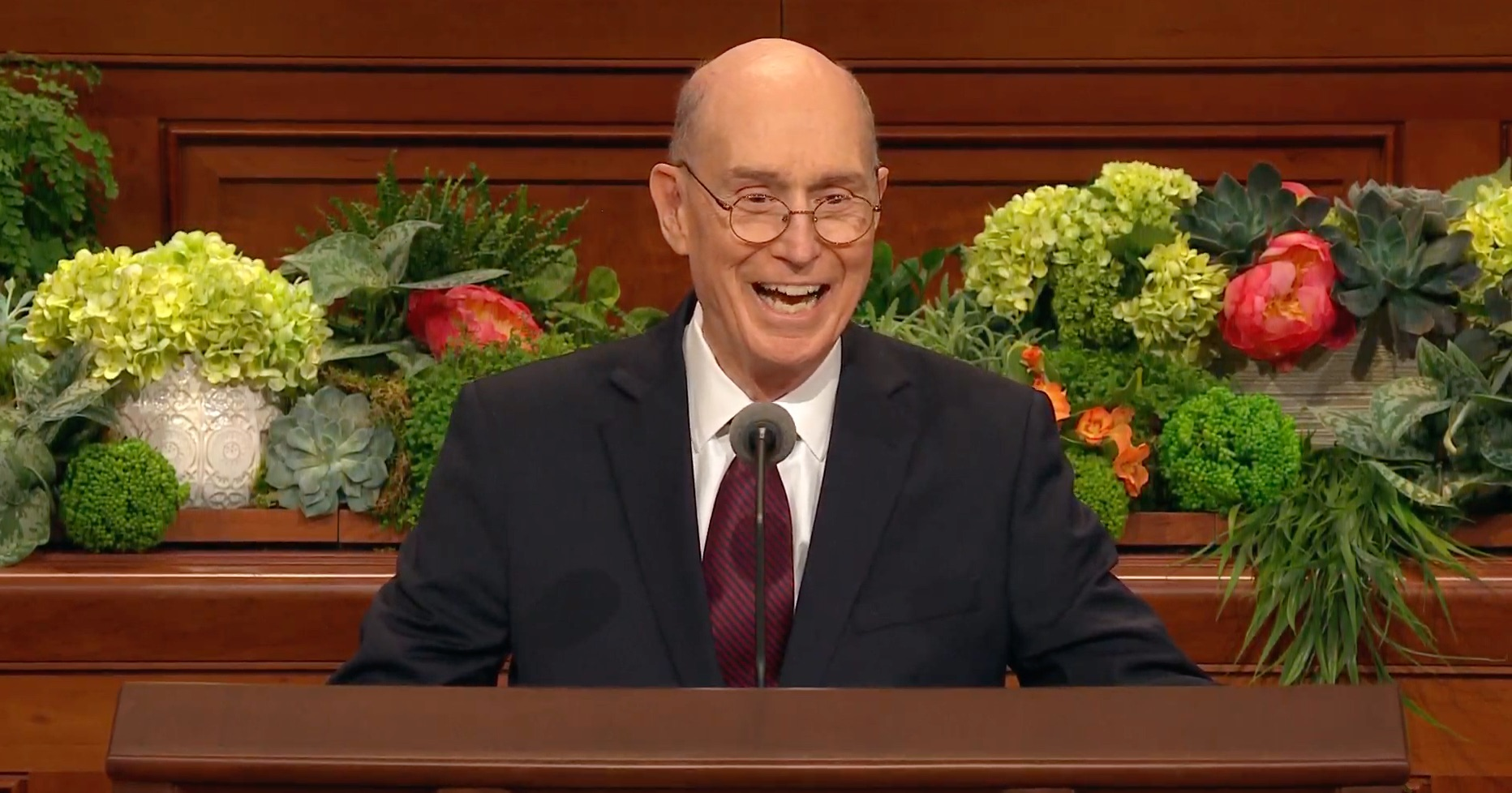 President Henry B. Eyring, second counselor in the First Presidency, speaks during the priesthood session of the 189th Annual General Conference on April 6, 2019.