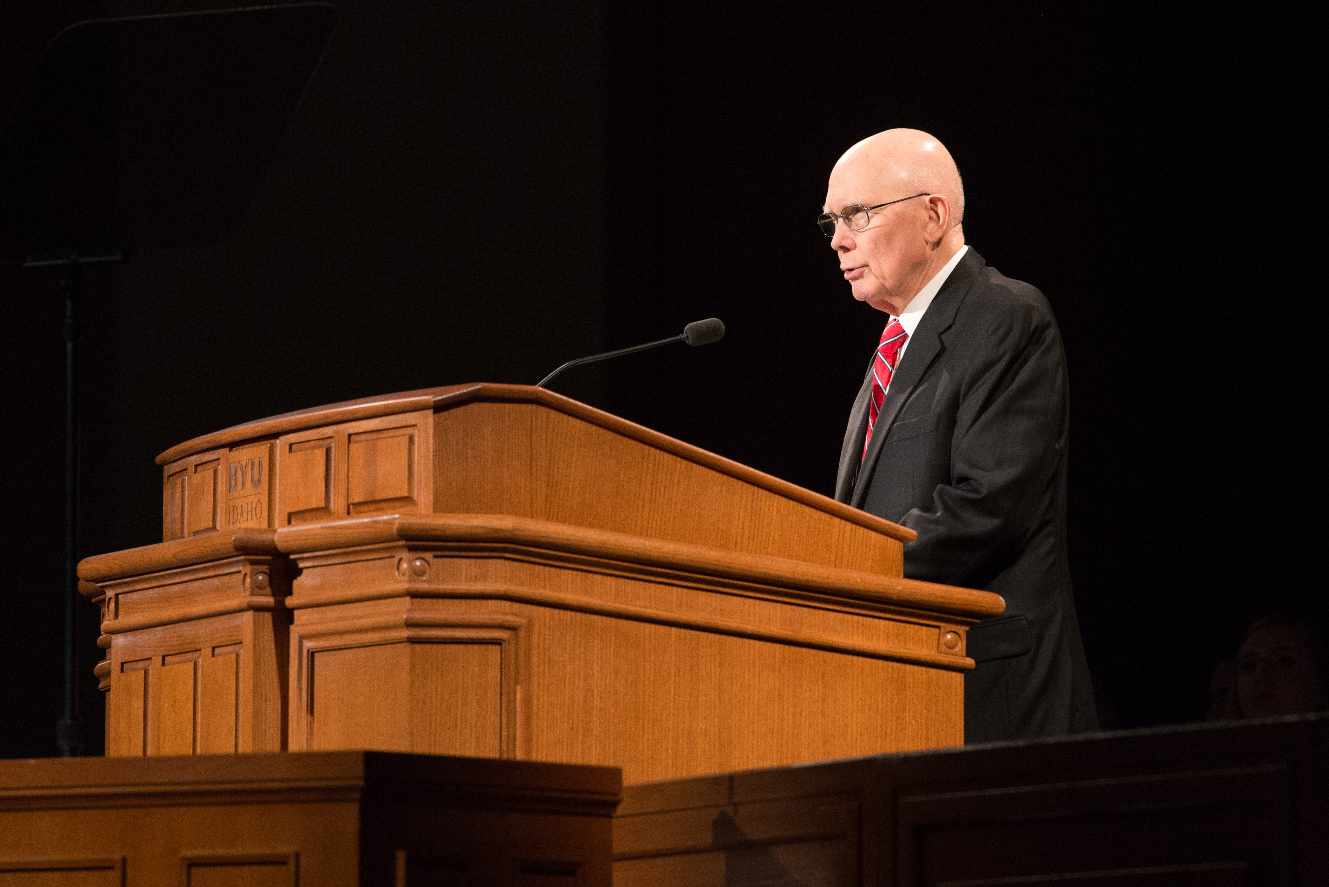 President Dallin H. Oaks of the First Presidency, speaks at a BYU-Idaho campus devotional on Oct. 30.
