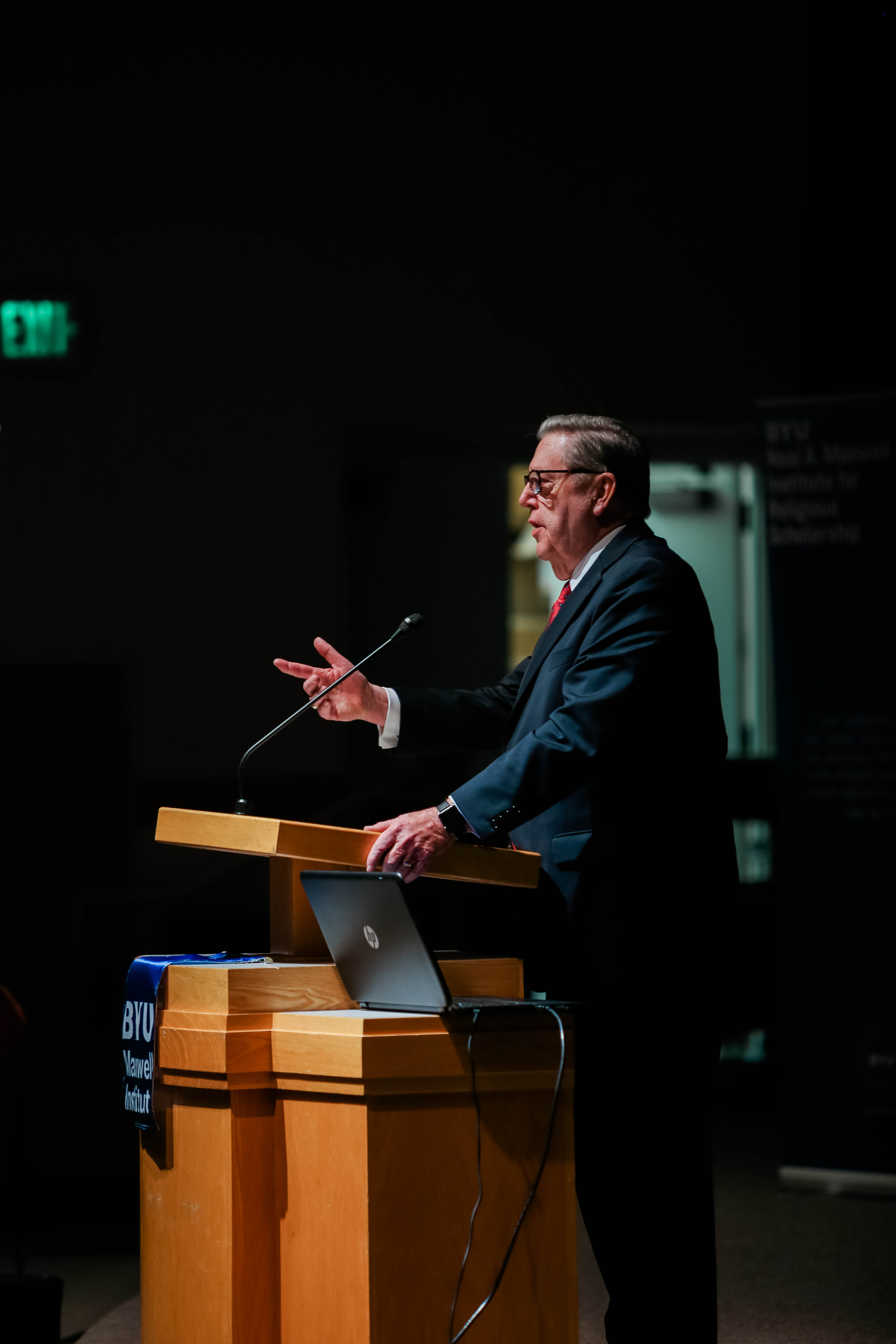 Elder Jeffrey R. Holland of the Quorum of the Twelve Apostles speaks during the annual Neal A. Maxwell Lecture held at BYU, this year on Nov. 10.