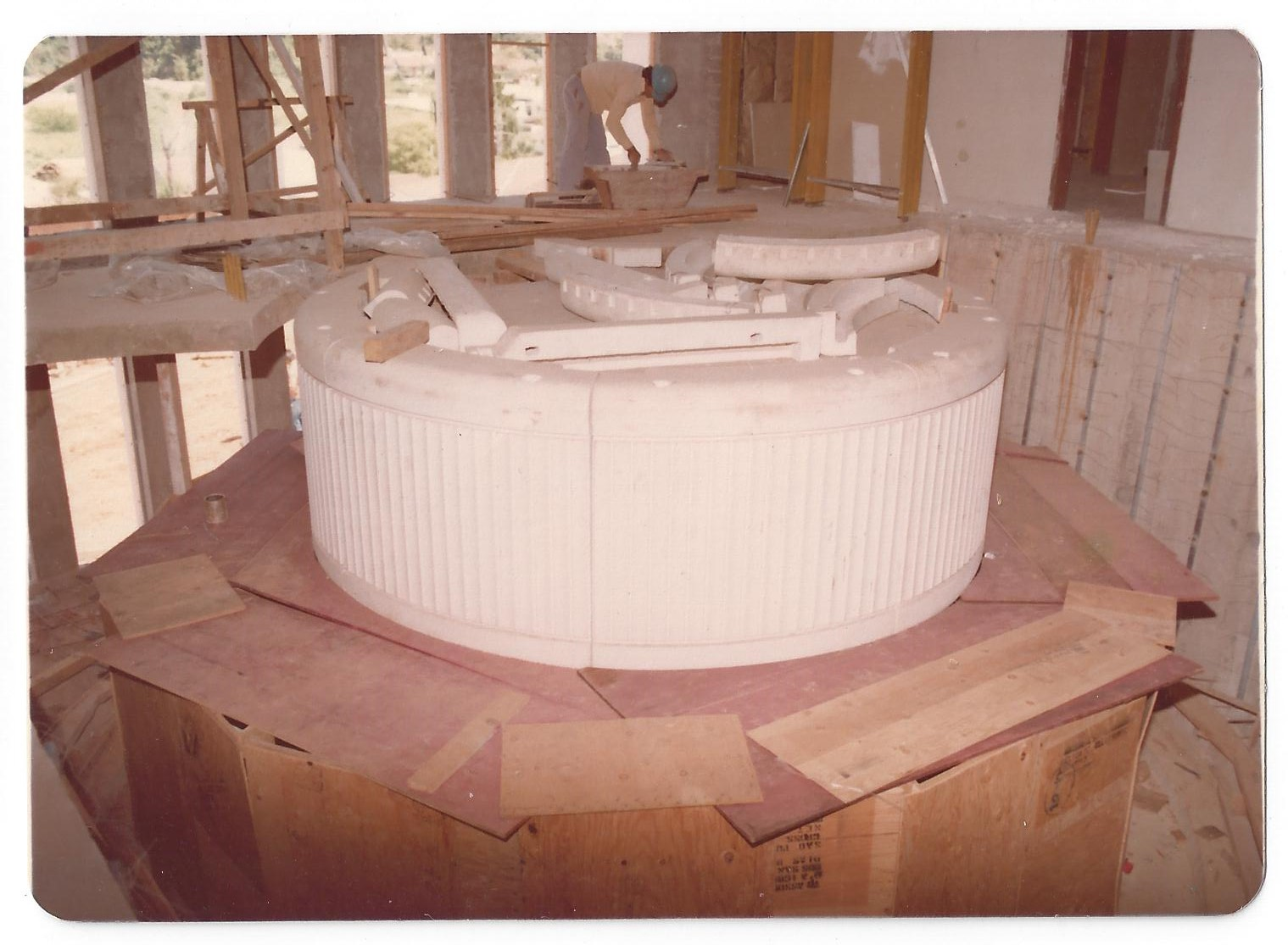 A photo showing the baptismal font in the LDS Church's São Paulo Temple during construction in São Paulo, Brazil between 1976 and 1978.